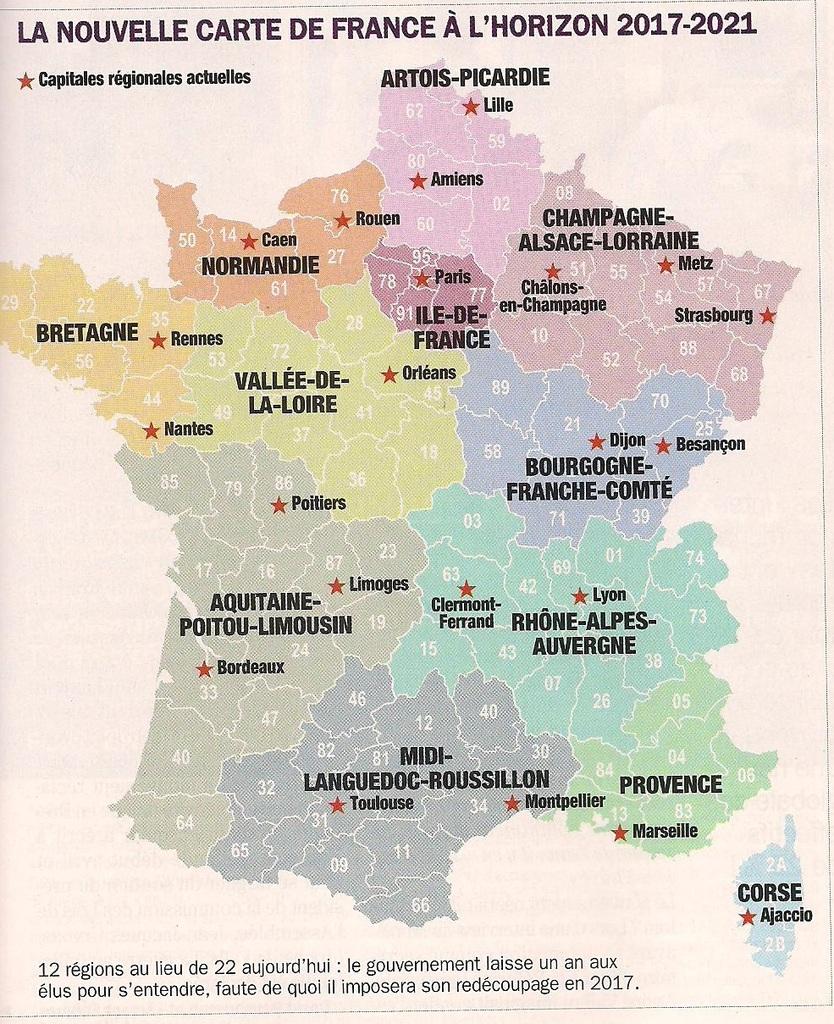 Nouvelles Régions : Où Sont Passées Les Économies tout Carte Région France 2017