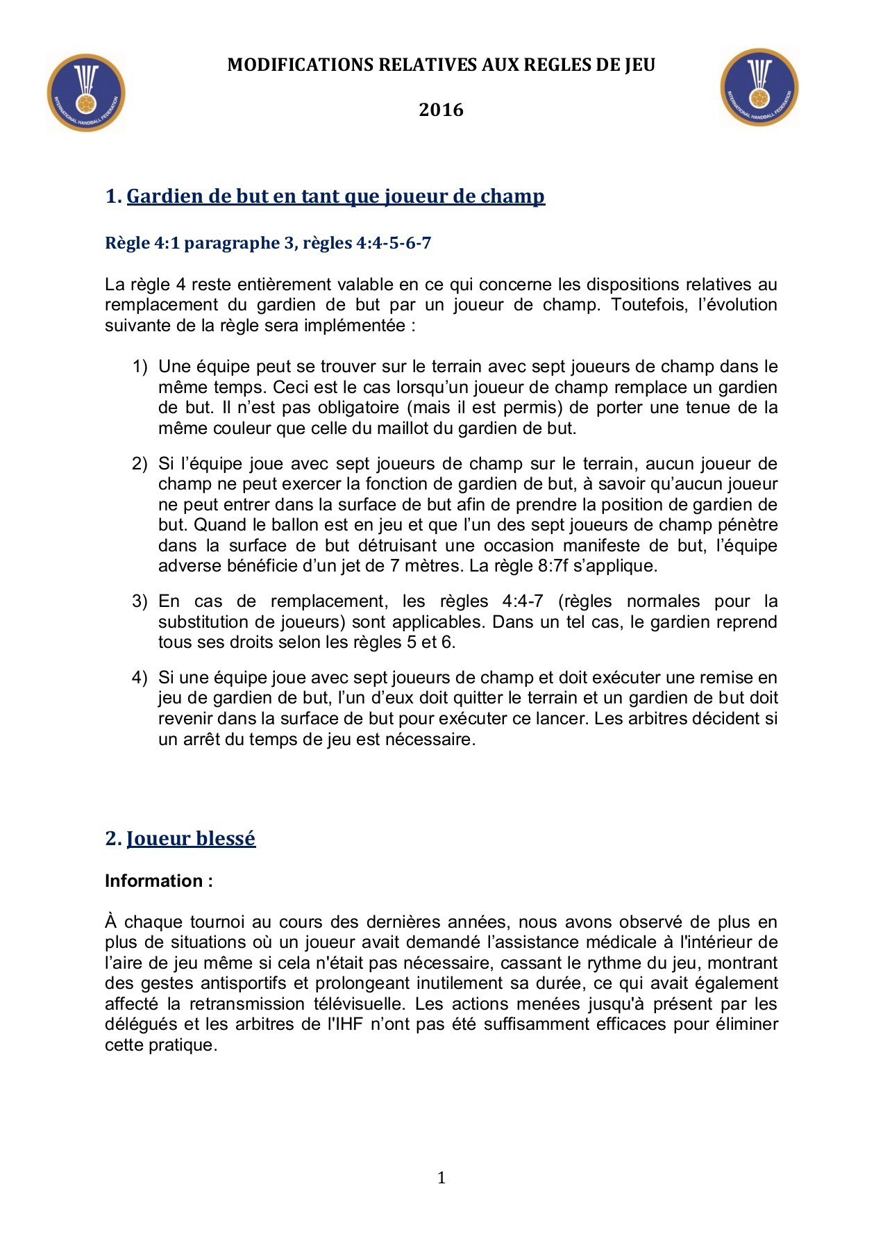 Nouvelles Règles Handball Pages 1 - 5 - Text Version | Fliphtml5 tout Jeux De Gardien De But