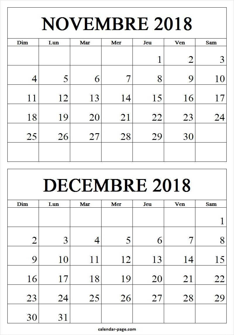 Novembre Decembre 2018 Calendrier | Calendrier Mensuel 2018 à Calendrier Mensuel 2018 À Imprimer