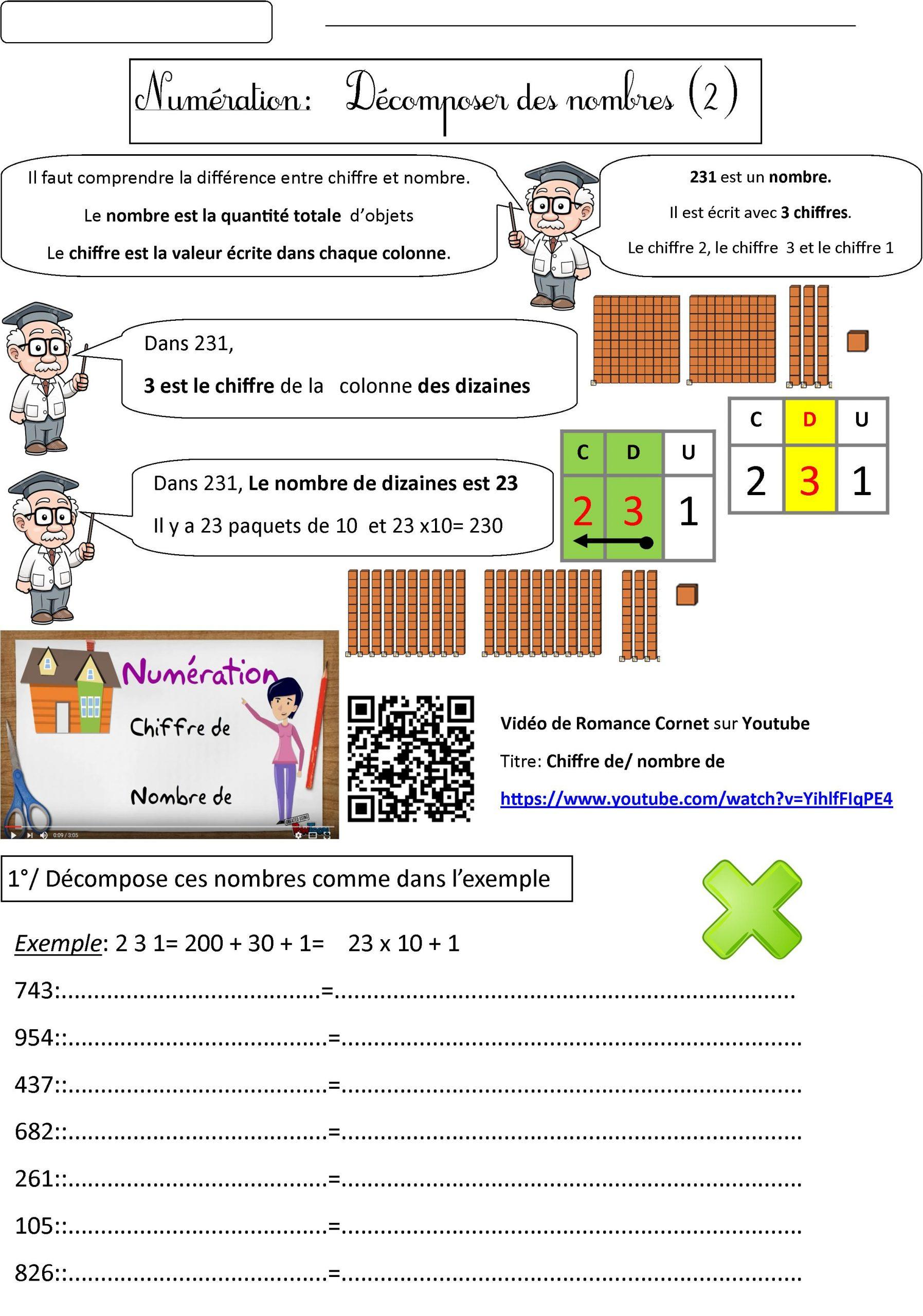 Numération Ce2: Différencier Chiffre Et Nombre | Le Blog De à Cours Ce2 A Imprimer