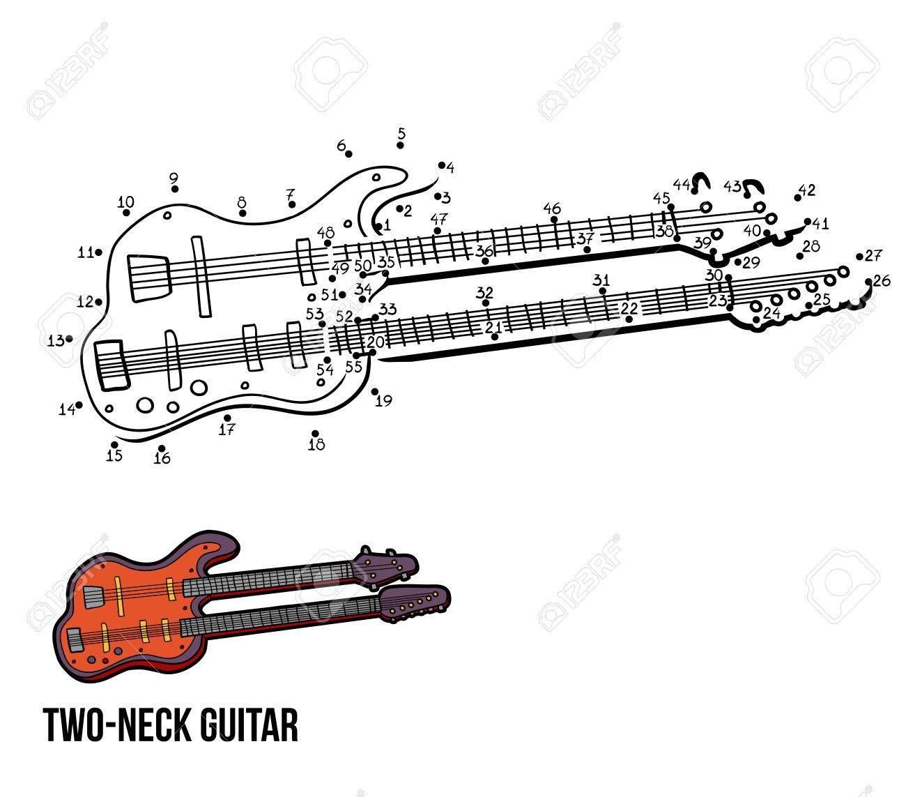 Numéros De Jeu Pour Les Enfants: Instruments De Musique Guitare À Deux Cols avec Jeu Des Instruments De Musique