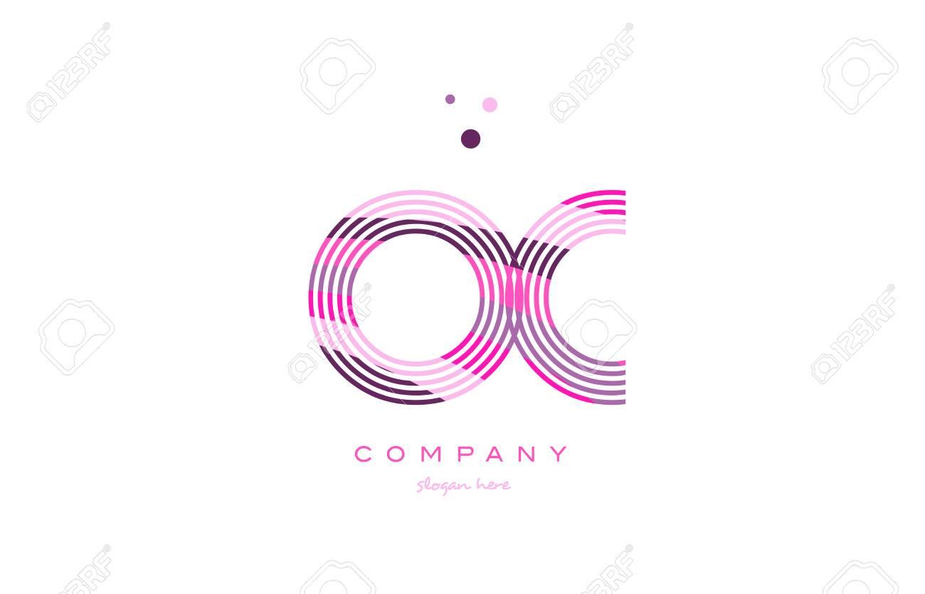 Oc Oc Lettre Alphabet Logo Rose Violet Ligne Police Texte Créatif Dots  Société Vecteur Icône Modèle De Conception à Modele De Lettre Alphabet