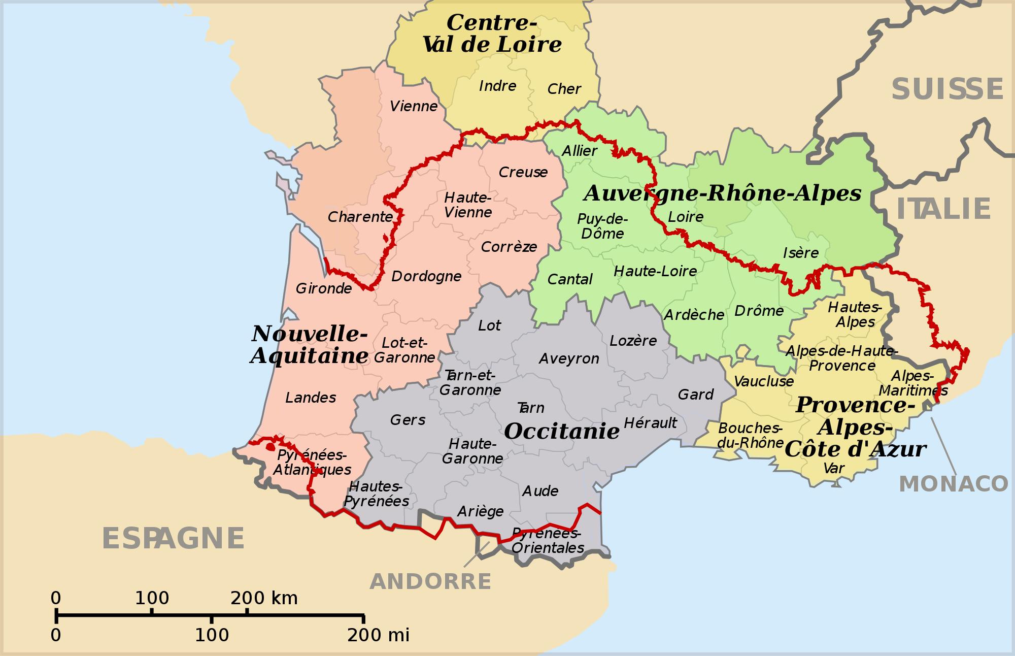 Occitanie - Wikipedia pour Région Et Département France
