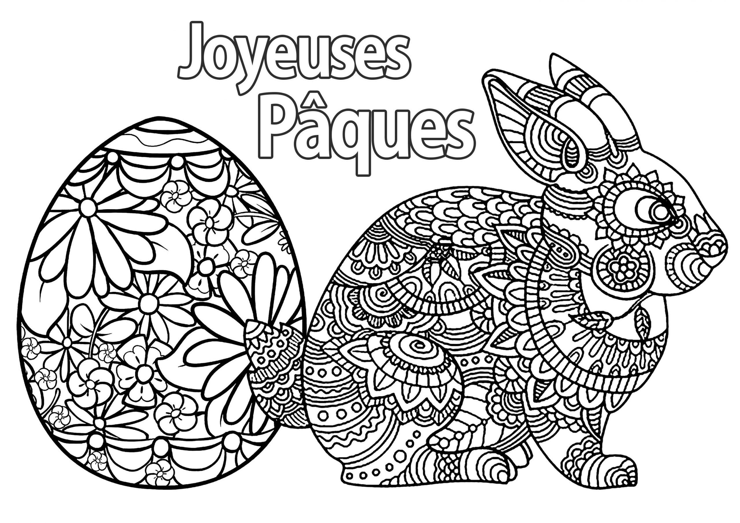 Oeuf Et Lapin De Paques Avec Texte - Pâques - Coloriages destiné Dessin Pour Paques