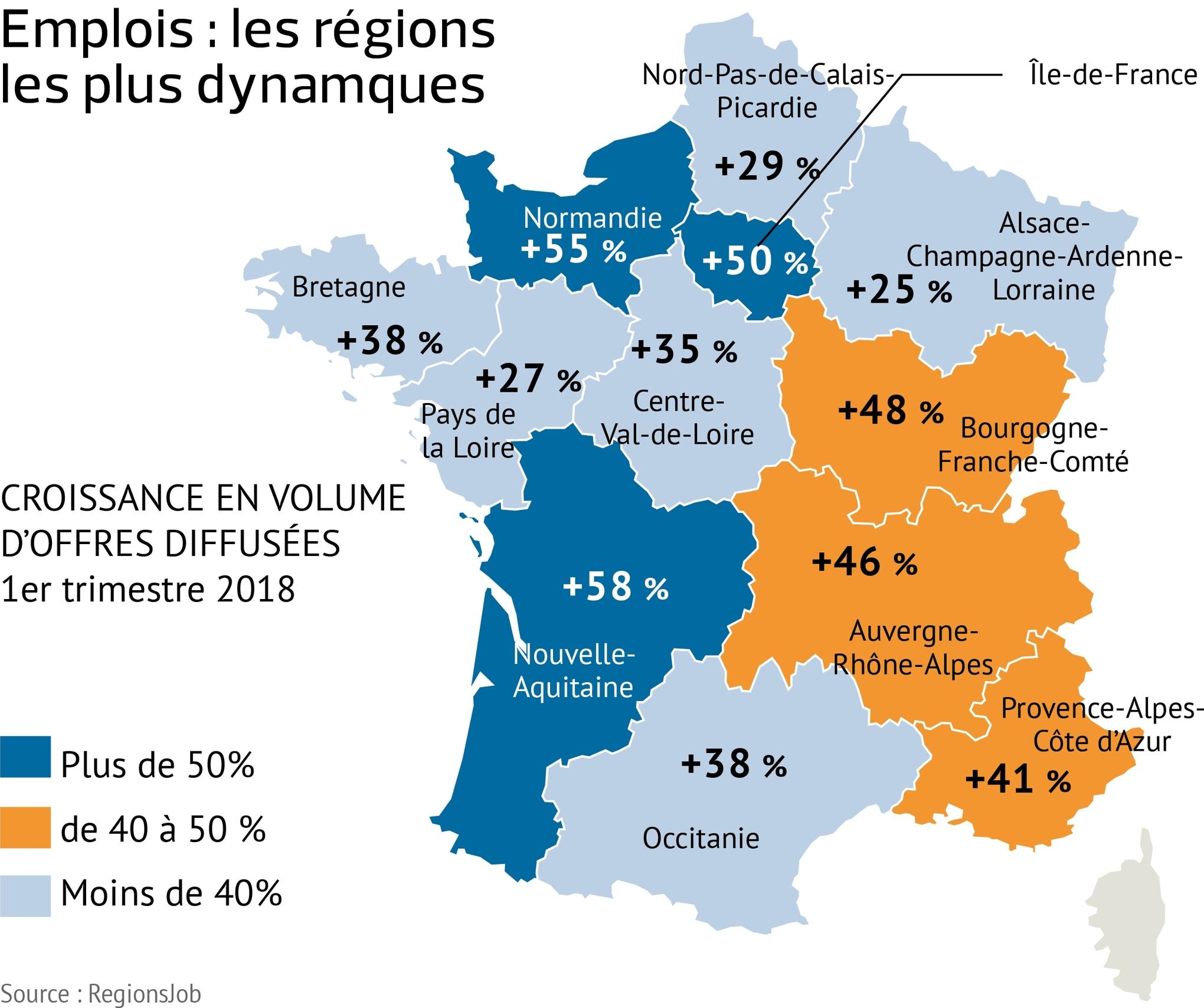 Offres D'emploi: Les Régions Françaises Les Plus Dynamiques concernant Nombre De Régions En France 2017