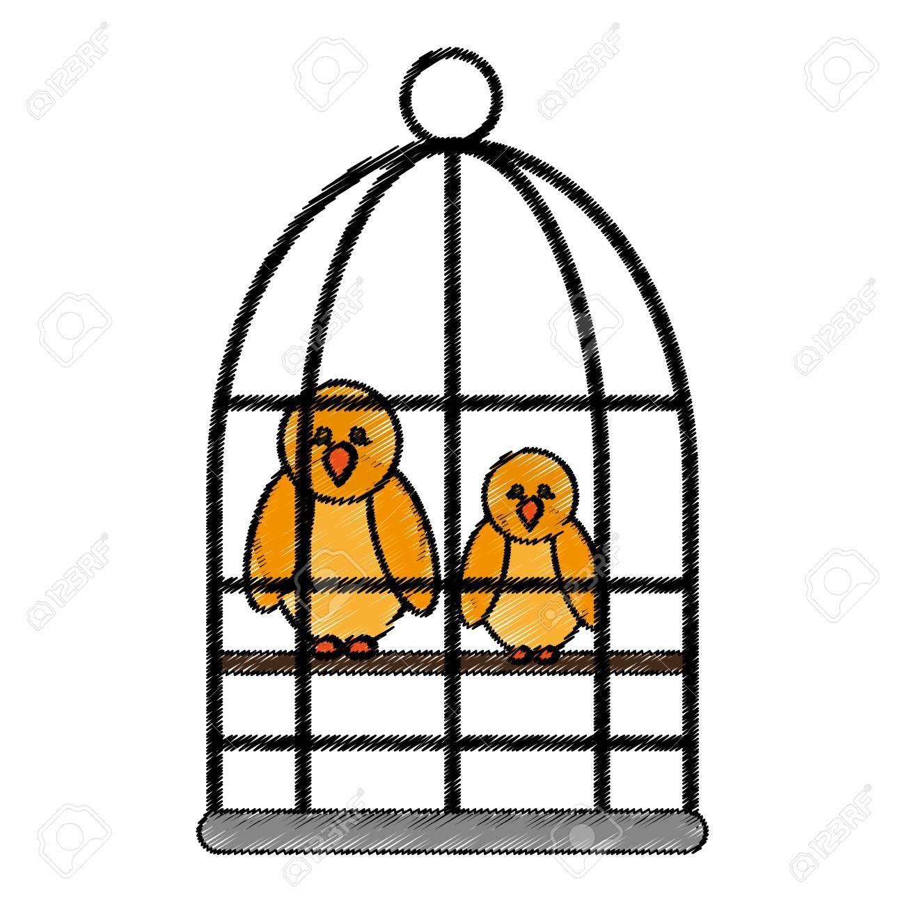 Oiseau Dans Une Icône De Dessin Animé De Cage Sur Fond Blanc. Design  Coloré. Illustration Vectorielle destiné Dessin De Cage D Oiseau