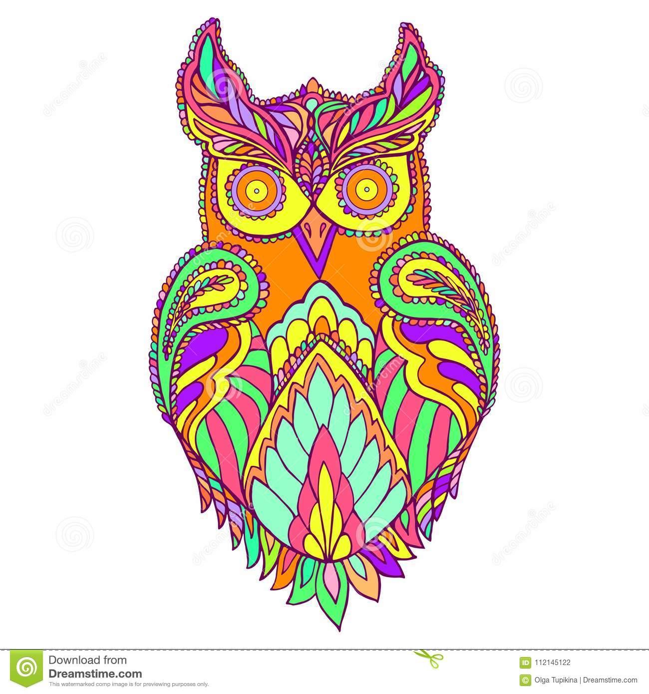 Oiseau D'imagination De Hibou, Page De Couleur Illustration tout Hibou Dessin Couleur