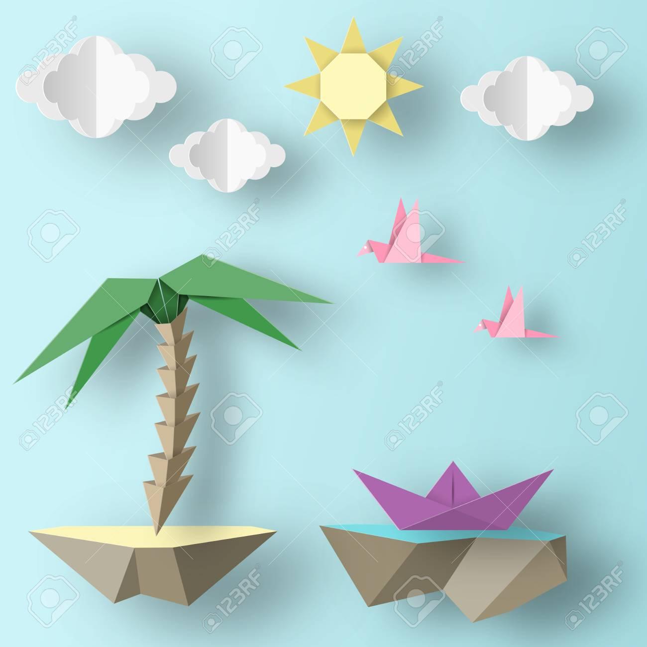 Oiseaux Coupés, Bateau, Palmier, Nuages ??et Papier De Style Origami  Fabriqués Par Word. Découpe Fait Des Éléments Et Des Symboles Pour La  Bannière, tout Decoupage Papier Facile