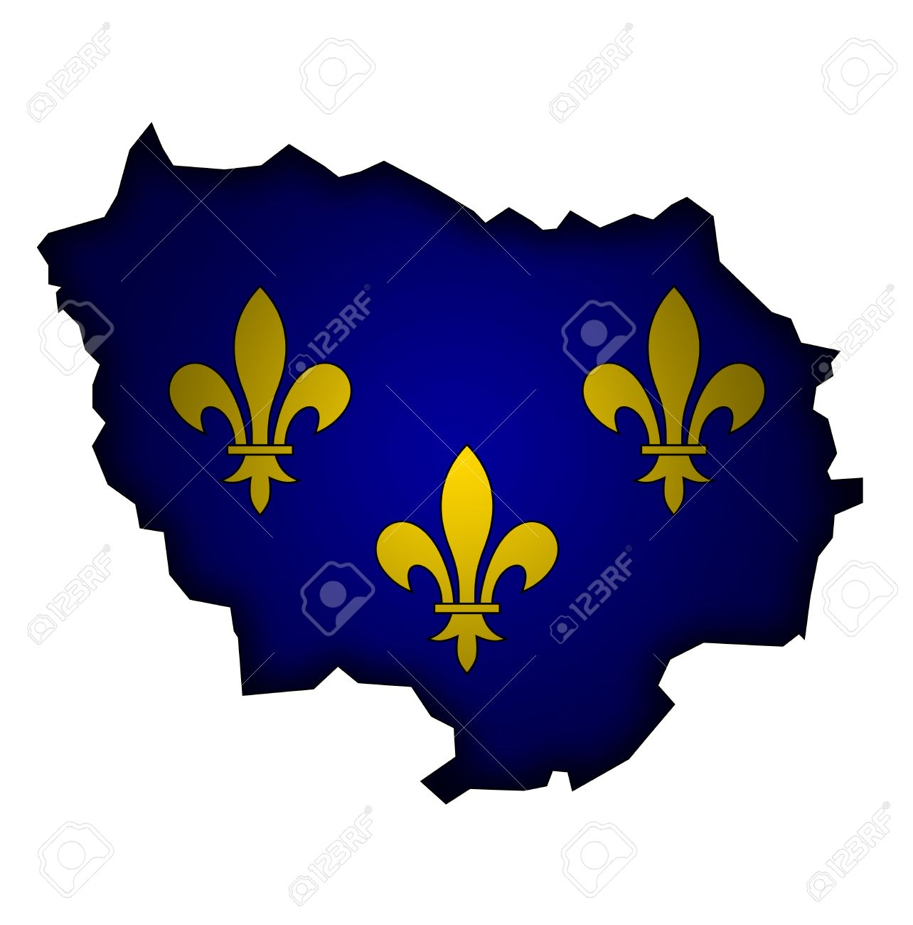 Old Map With Flag Of Department, Administrative Region Of France.. dedans Carte France Avec Region