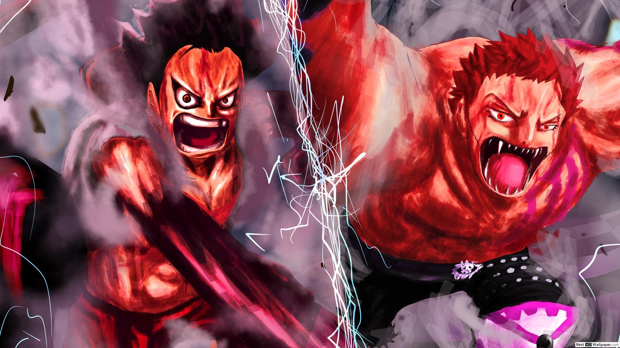 One Piece - Charlotte Katakuri Vs Monkey D. Luffy Hd Duvar serapportantà Dessin Animé De One Piece