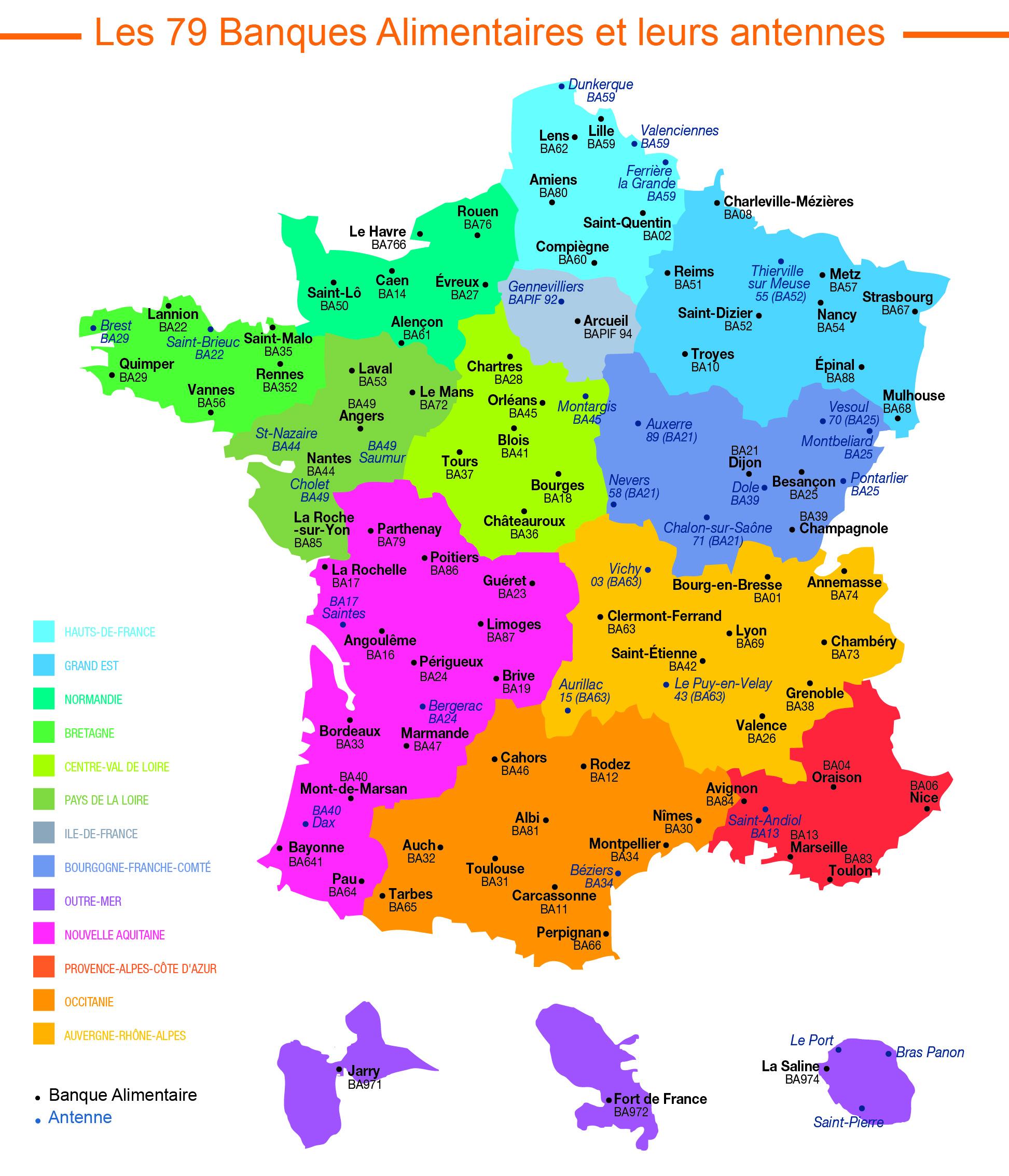 Organisation - Banques Alimres tout Decoupage Region France
