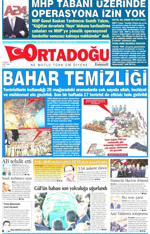 Ortadoğu Gazetesi 09.05.2017 Tarihli Manşeti serapportantà Carte Europe 2017