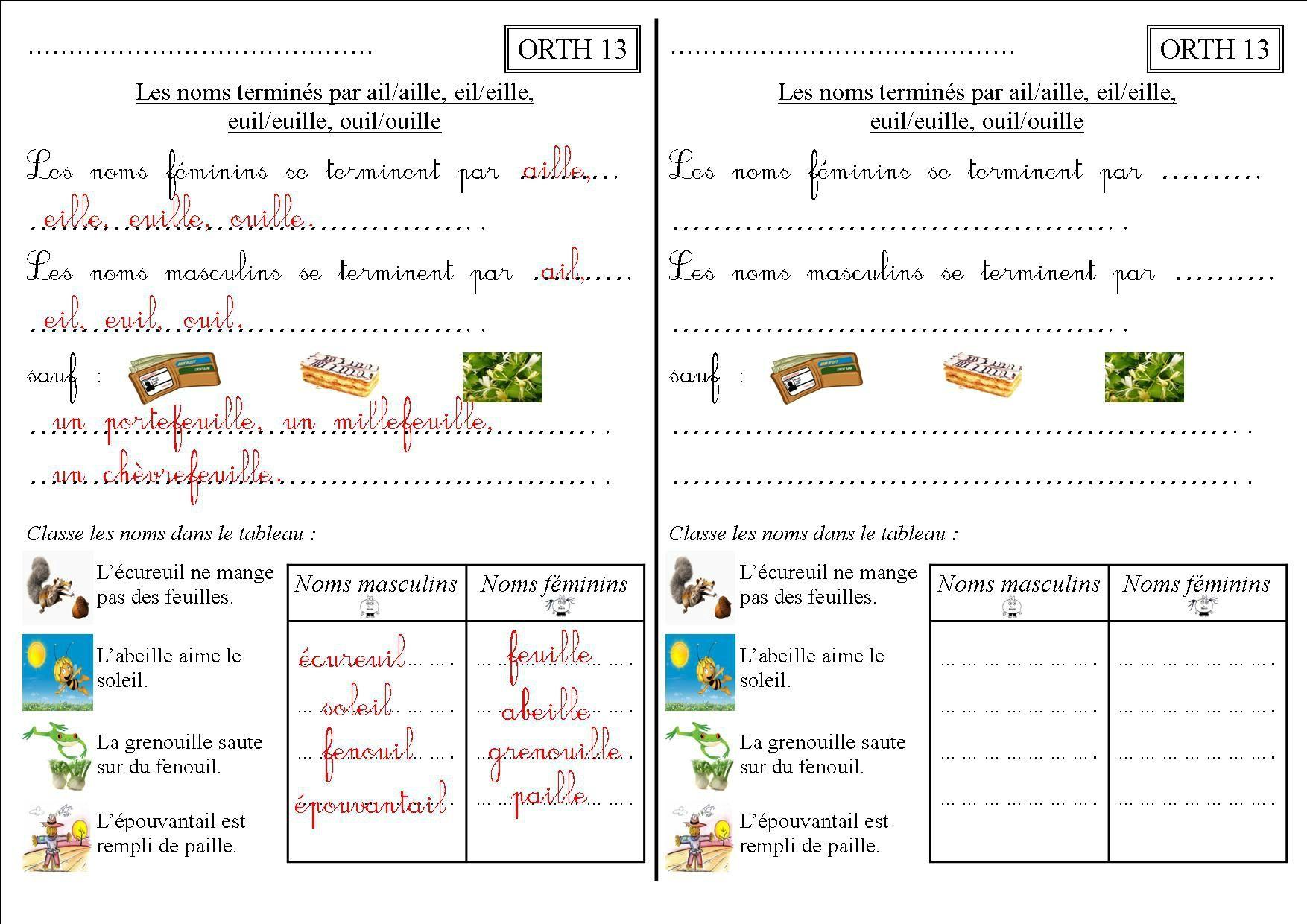 Orth 13 Ce2 : Les Noms Terminés Par Ail/aille, Eil/eille tout Cours Ce2 A Imprimer