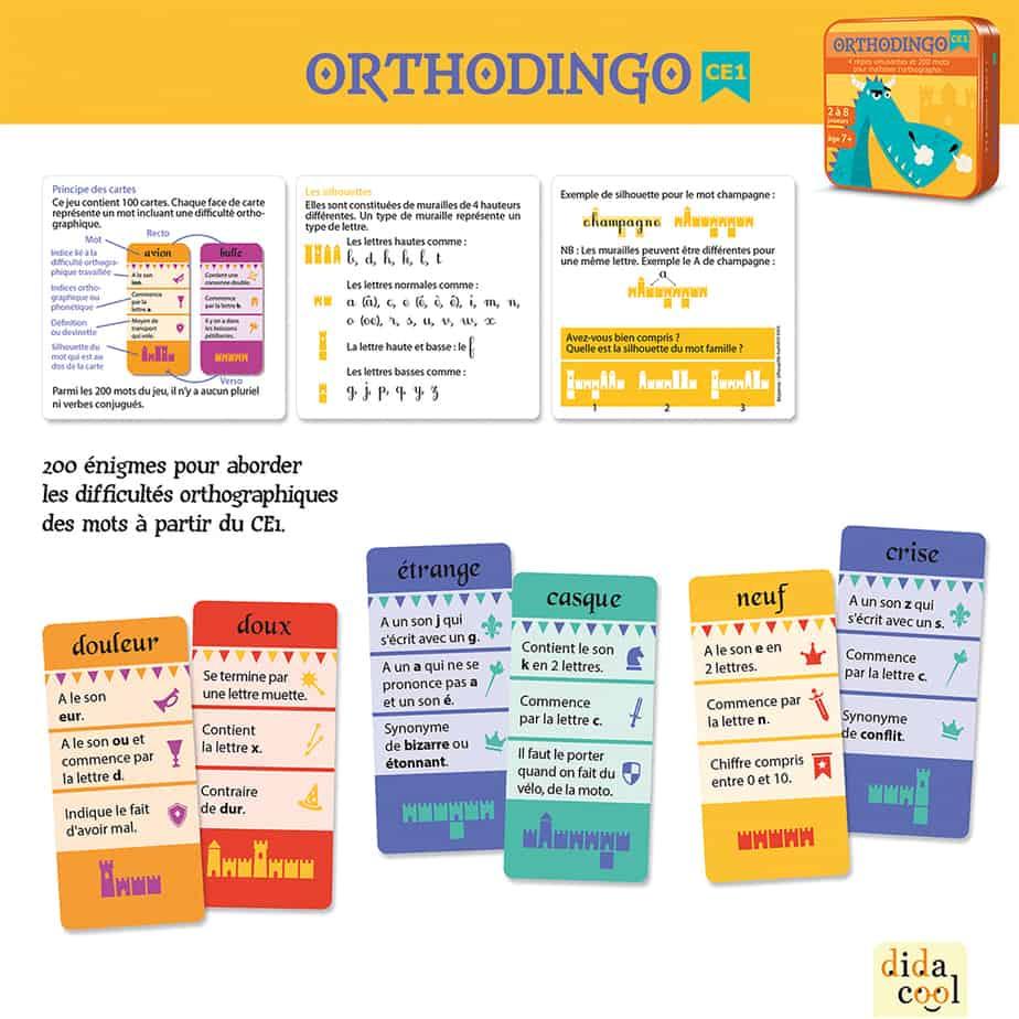Orthodingo Ce1 - Jeu D'orthographe Lexicale intérieur Jeux Educatif Ce1
