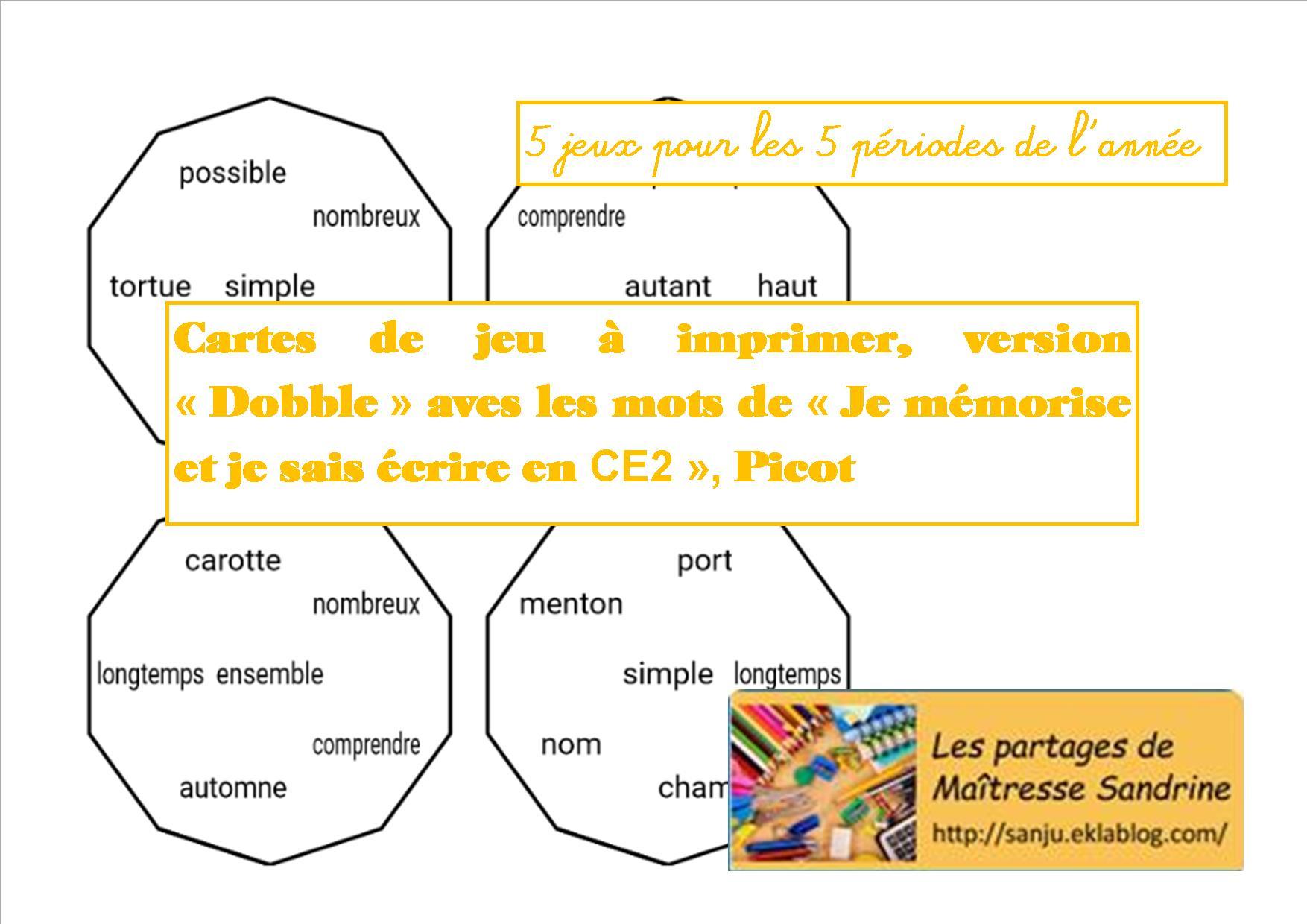 Orthographe Méthode Picot - Les Partages De Maîtresse Sandrine dedans Jeux Ce2 À Imprimer