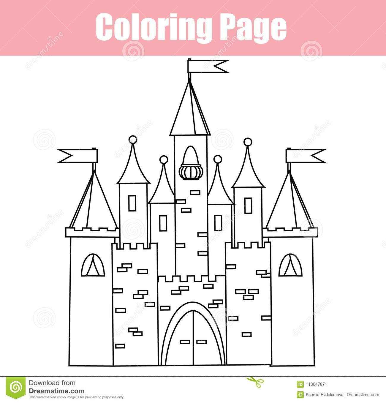 Page De Coloration Jeu Éducatif D'enfants Château Féerique à Chateau De Princesse Dessin