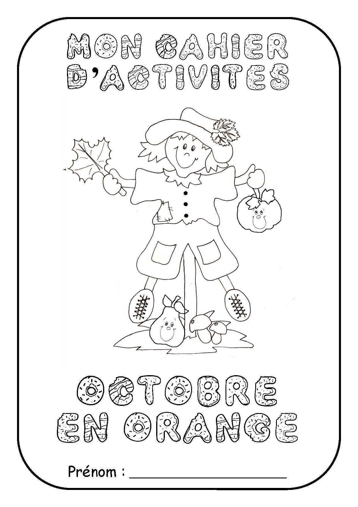 """Page De Garde Cahier D'activité """"octobre En Orange"""" destiné Activités Maternelle À Imprimer"""