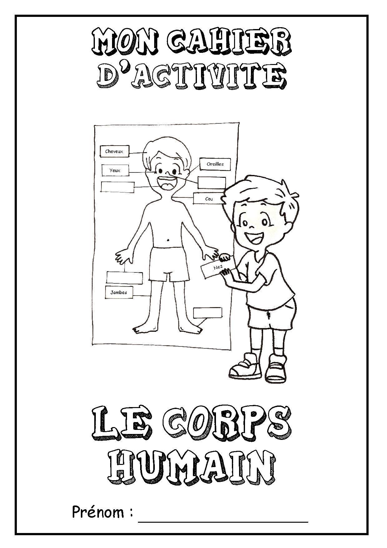 """Page De Garde Cahier D'activités """"le Corps Humain"""" à Coloriage Corps Humain Maternelle"""