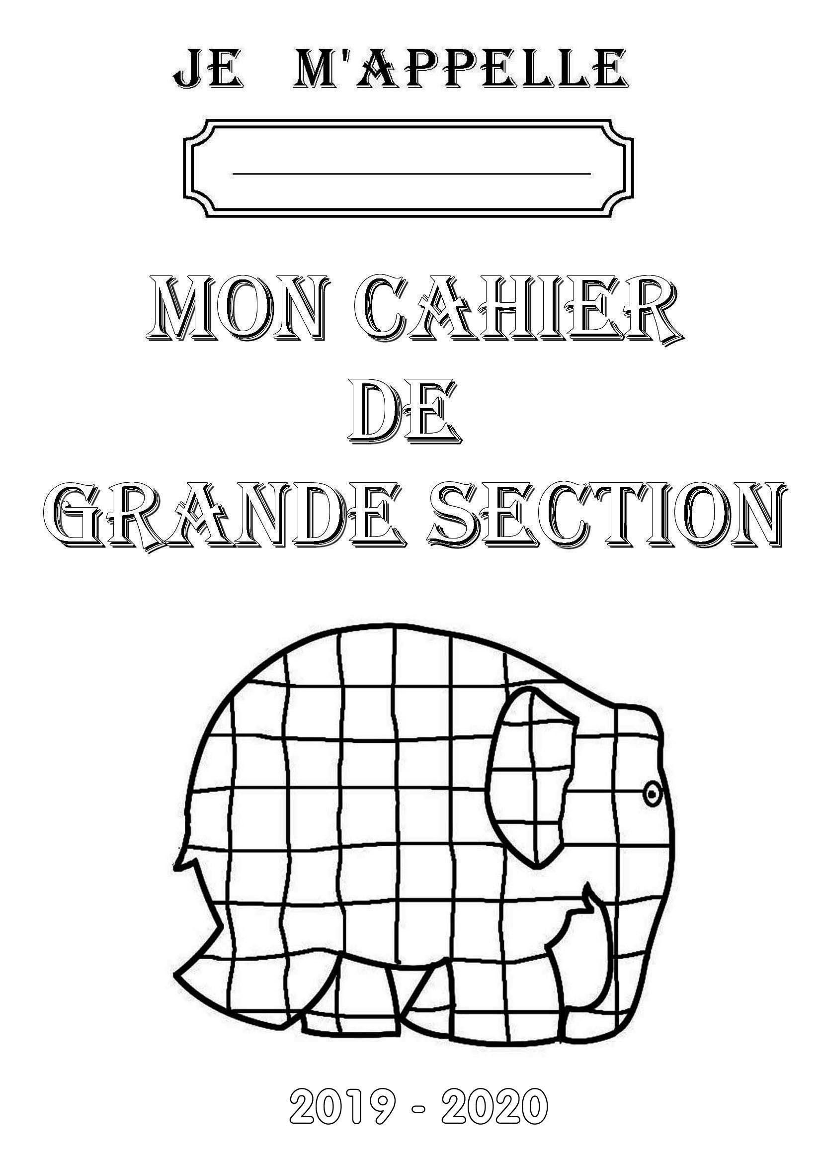 Page De Garde De Mon Cahier De Grande Section serapportantà Activité Maternelle Grande Section A Imprimer