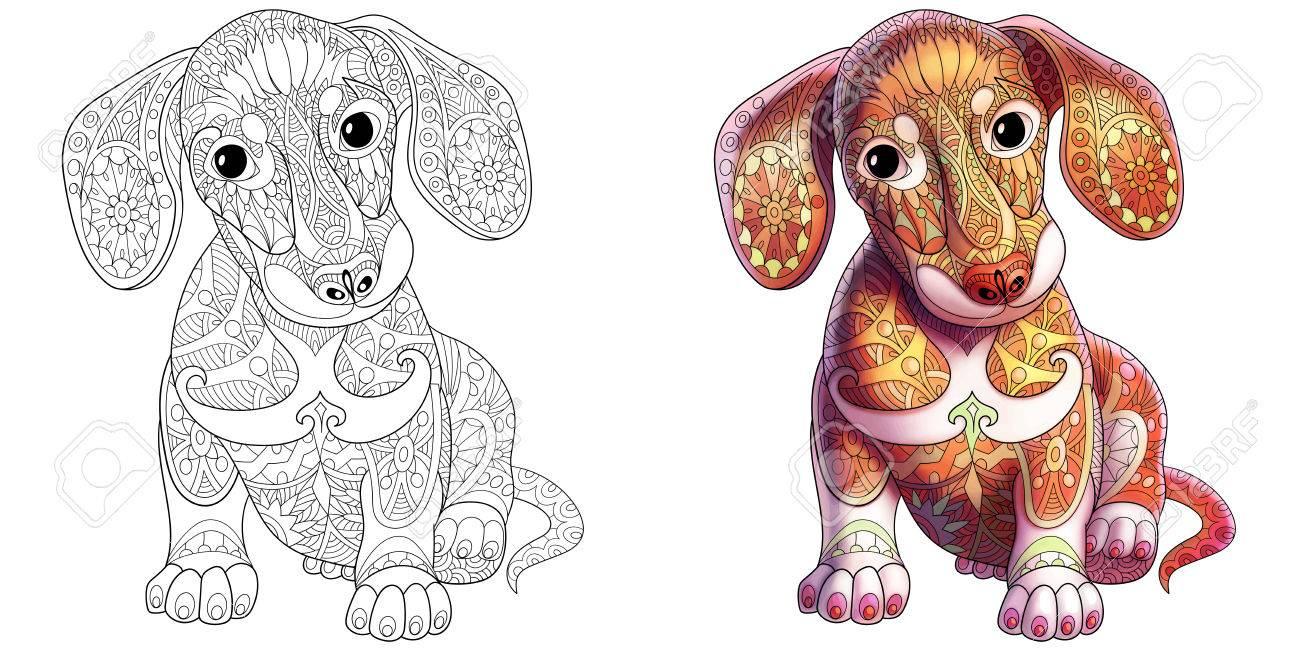 Page De Livre De Coloriage De Chiot De Teckel. Échantillons Monochromes Et  Colorés. encequiconcerne Coloriage De Chiot A Imprimer