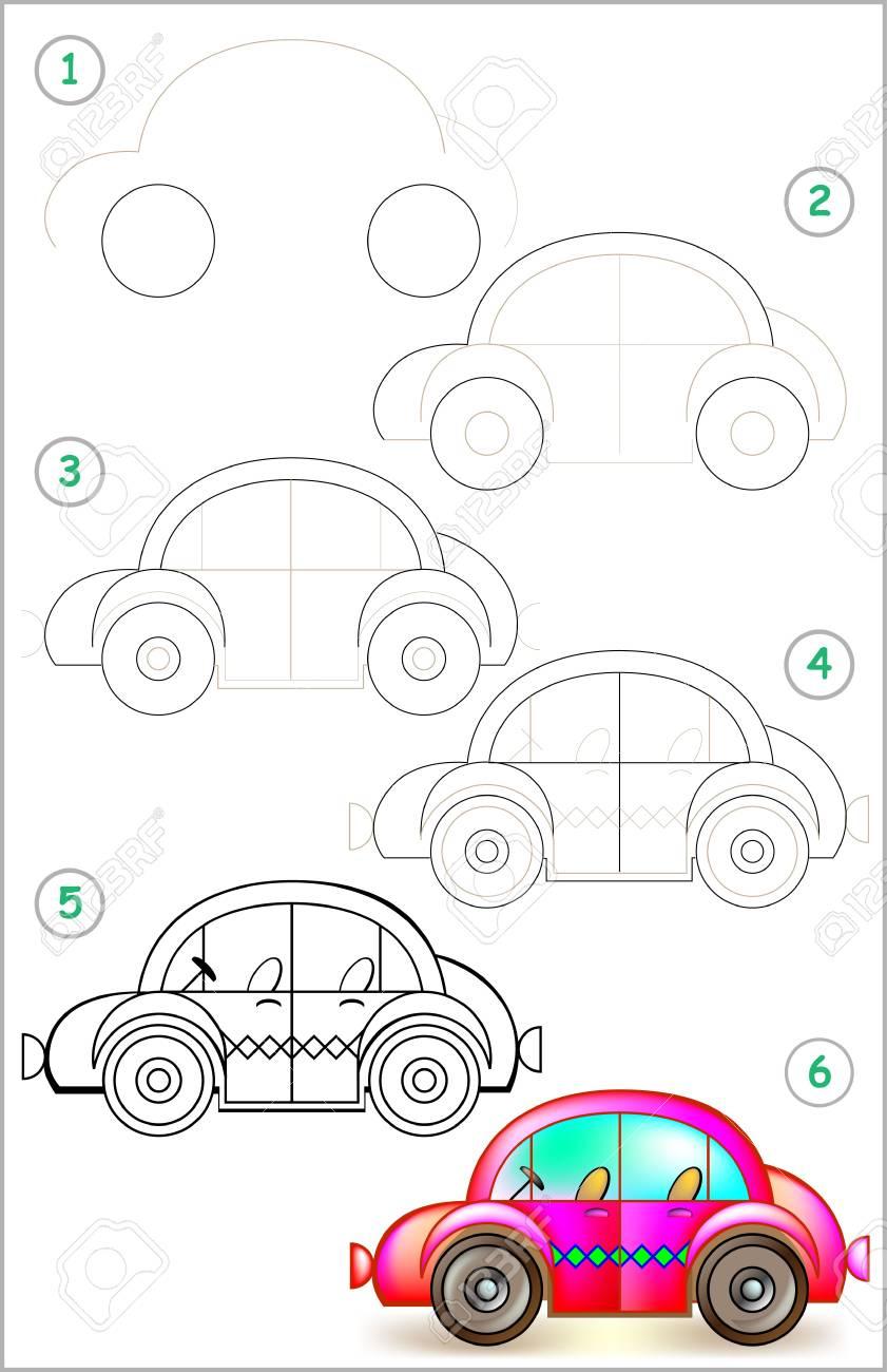 Page Montre Comment Apprendre Étape Par Étape À Dessiner Une Voiture.  Développer Les Compétences Des Enfants Pour Dessiner Et Colorier. Image encequiconcerne Apprendre A Dessiner Une Voiture