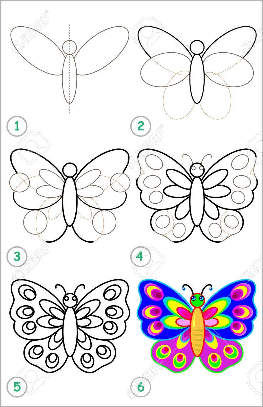 Page Montre Comment Apprendre Étape Par Étape Pour Dessiner Un Papillon.  Développer Des Compétences Pour Enfants Dessin Et De Coloriage. Image à Papillon À Dessiner
