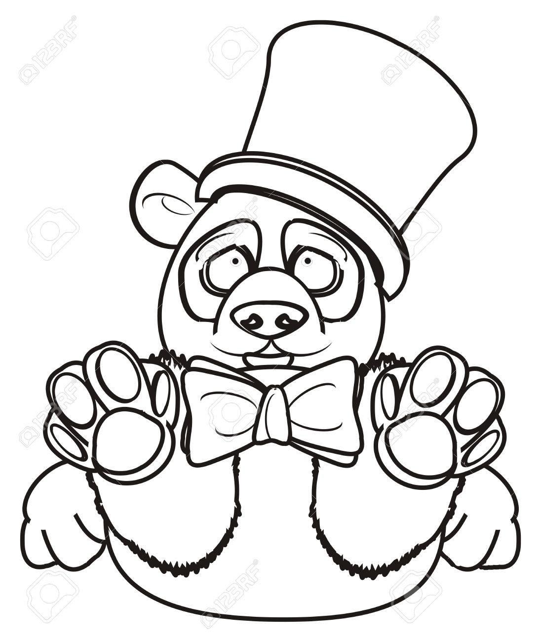 Panda À Colorier Dans Le Chapeau Et L'arc concernant Panda À Colorier