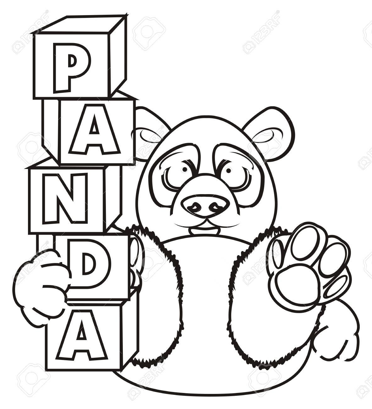 Panda À Colorier Tenir Un Blocs Avec Panda Lettre tout Panda À Colorier