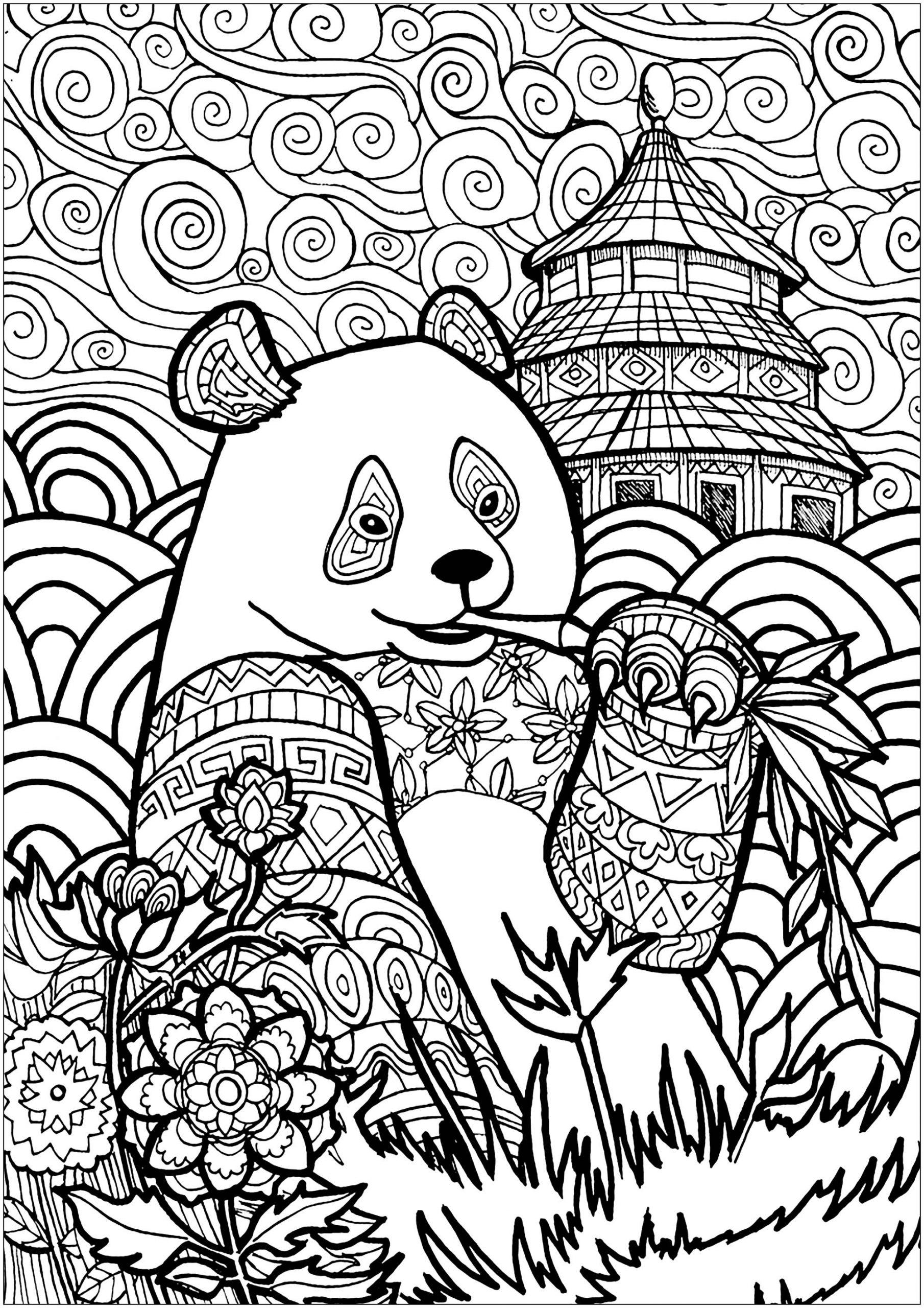 Panda En Chine - Pandas - Coloriages Difficiles Pour Adultes destiné Panda À Colorier