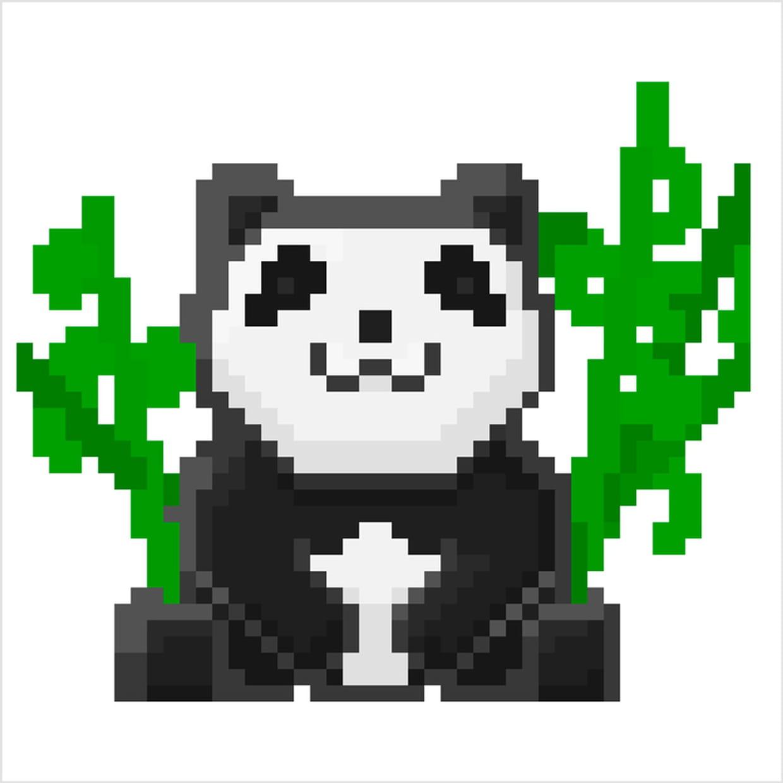 Panda Et Bambous En Pixel Art dedans Modele Dessin Pixel