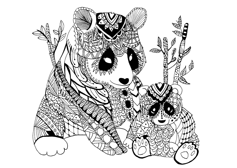 Panda Zentangle Celine - Zentangle - Coloriages Difficiles à Panda À Colorier