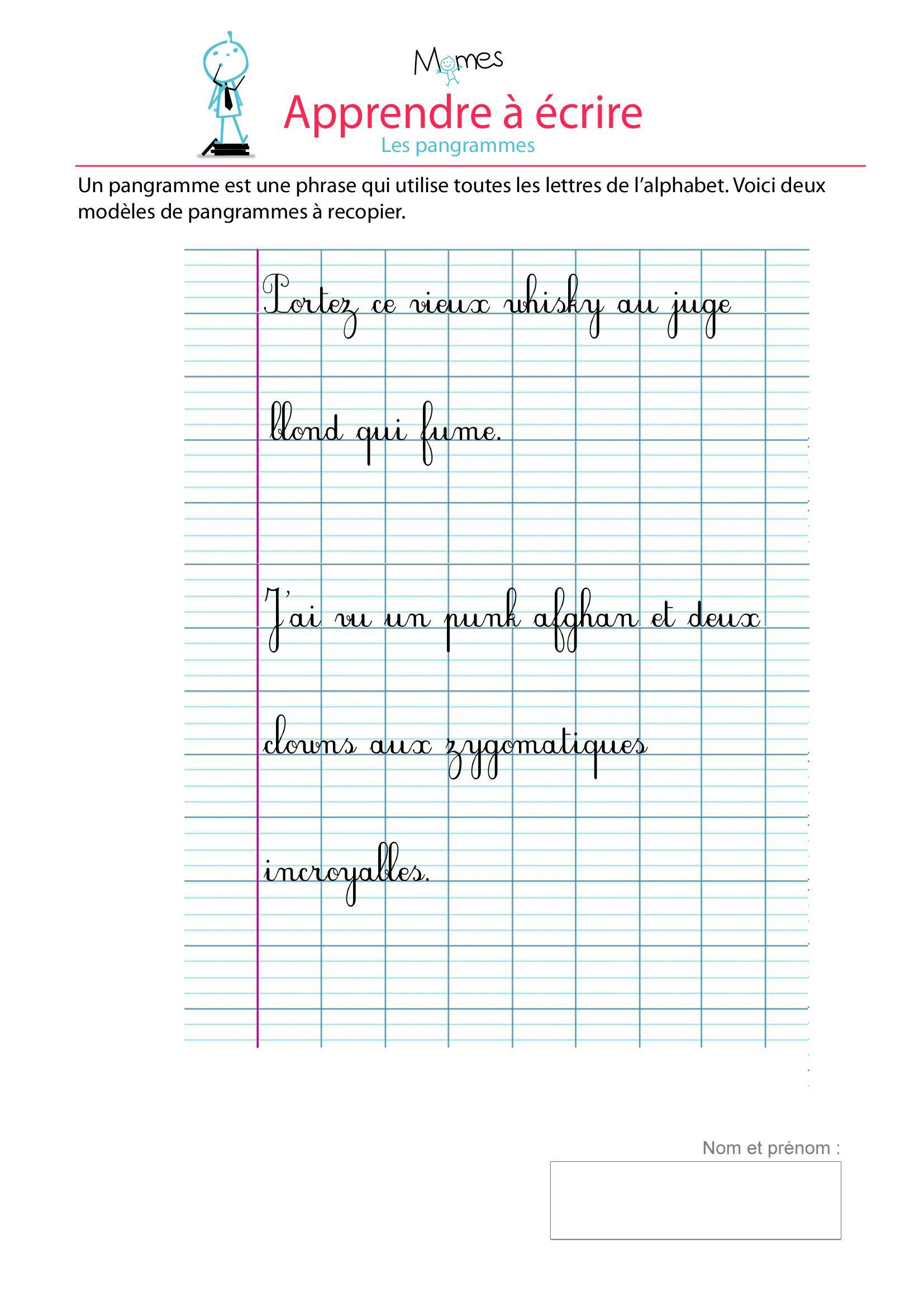 Pangrammes - Exercice De Modèle D'écriture   Apprendre À serapportantà Modèle D Alphabet