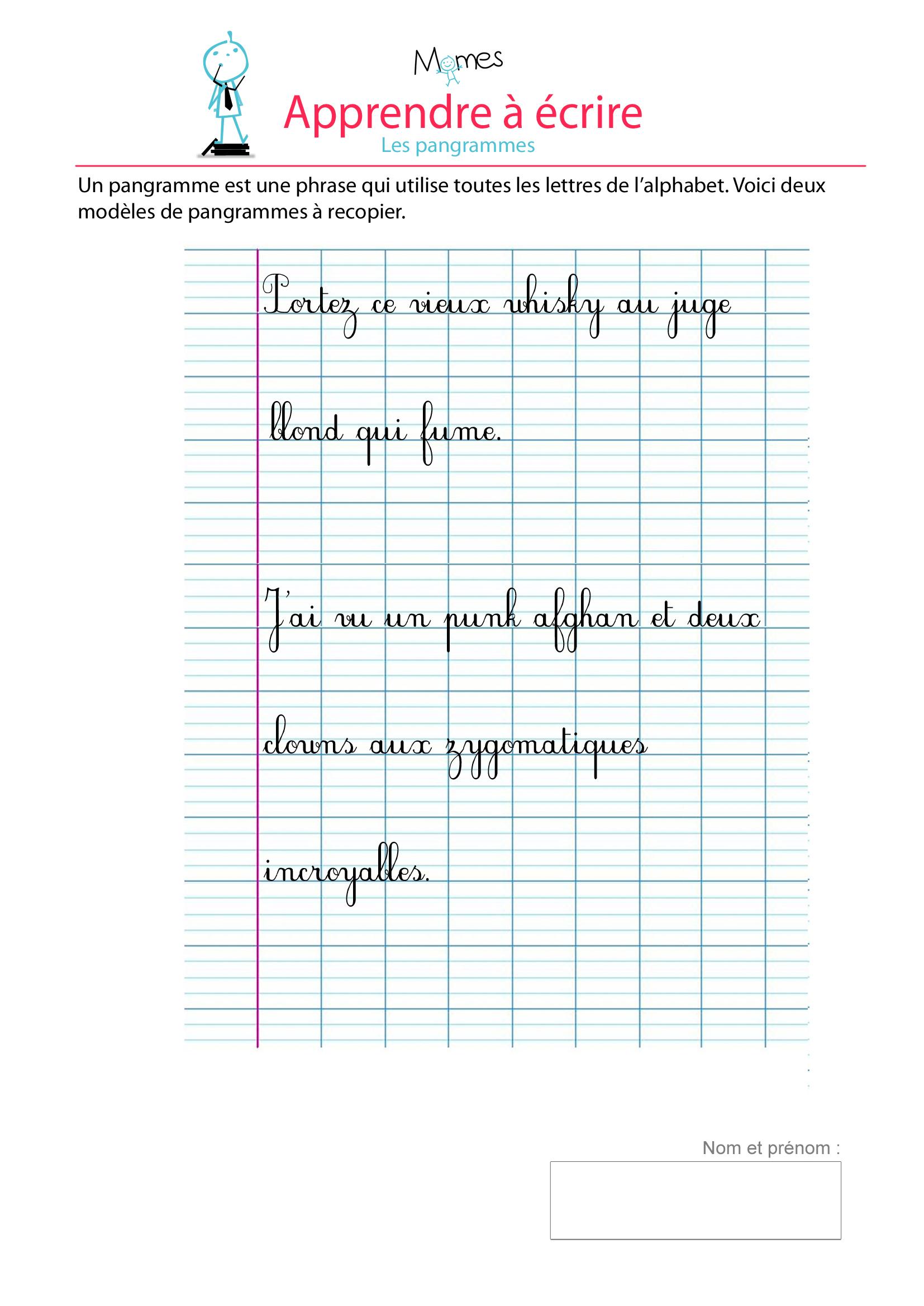 Pangrammes - Exercice De Modèle D'écriture - Momes à Alphabet Français À Imprimer