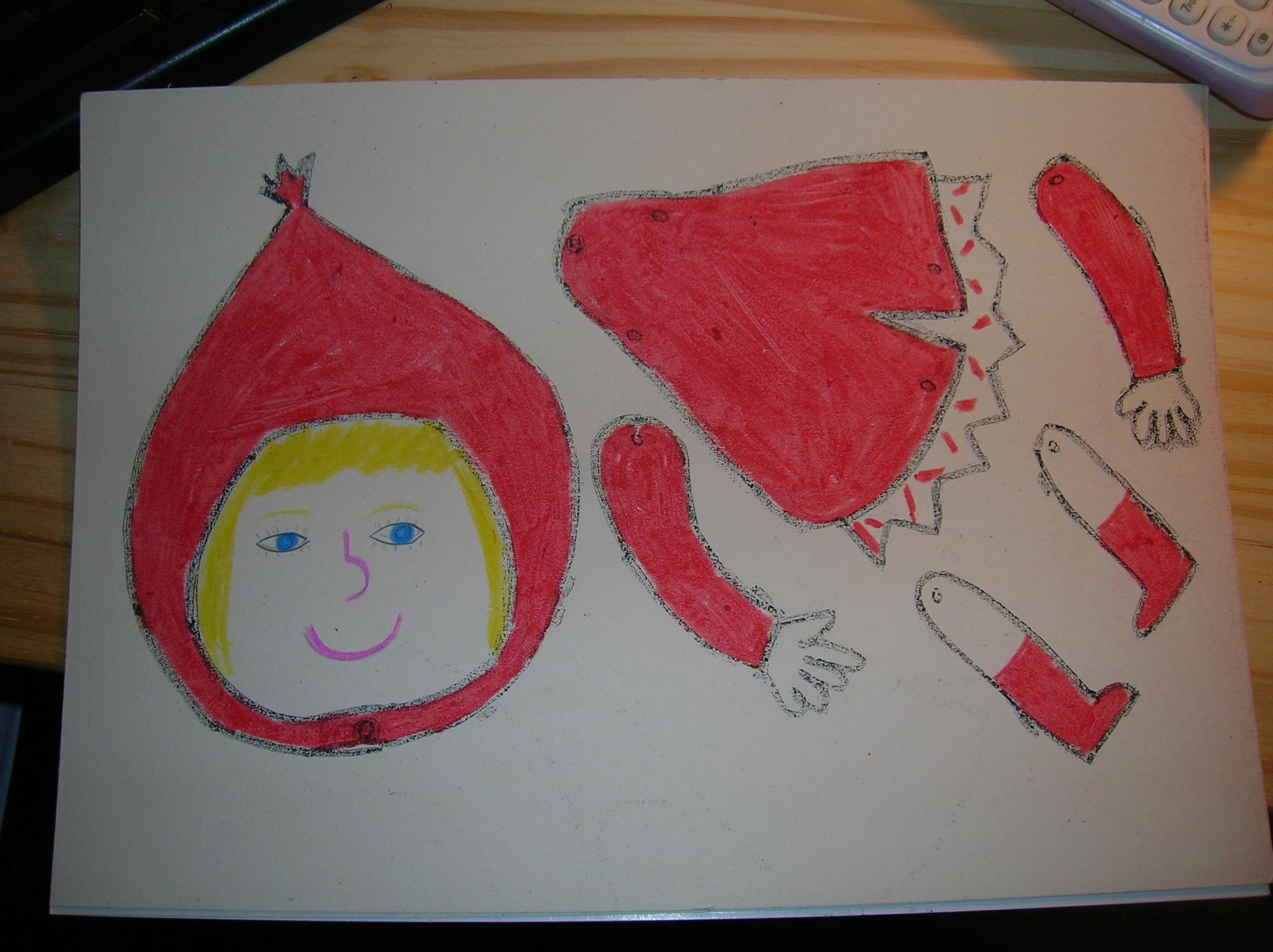 Pantin Petit Chaperon Rouge - dedans Pantin Articulé Patron