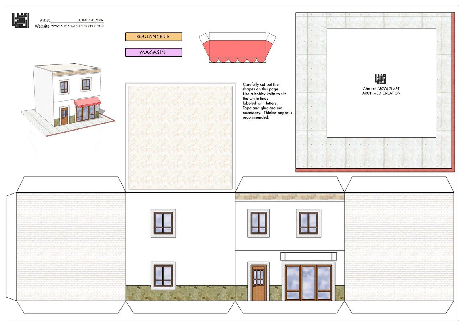 Paper House Print Out | Faire Plan Maison, Maquette Maison à Patron De Maison En Papier A Imprimer