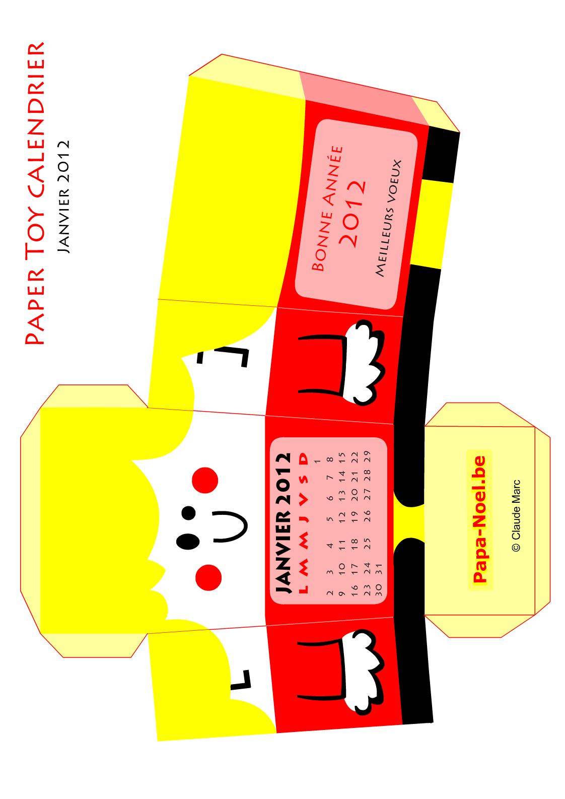 Paper Toy Calendrier Janvier 2012 Jouet En Papier A Imprimer à Paper Toy Gratuit