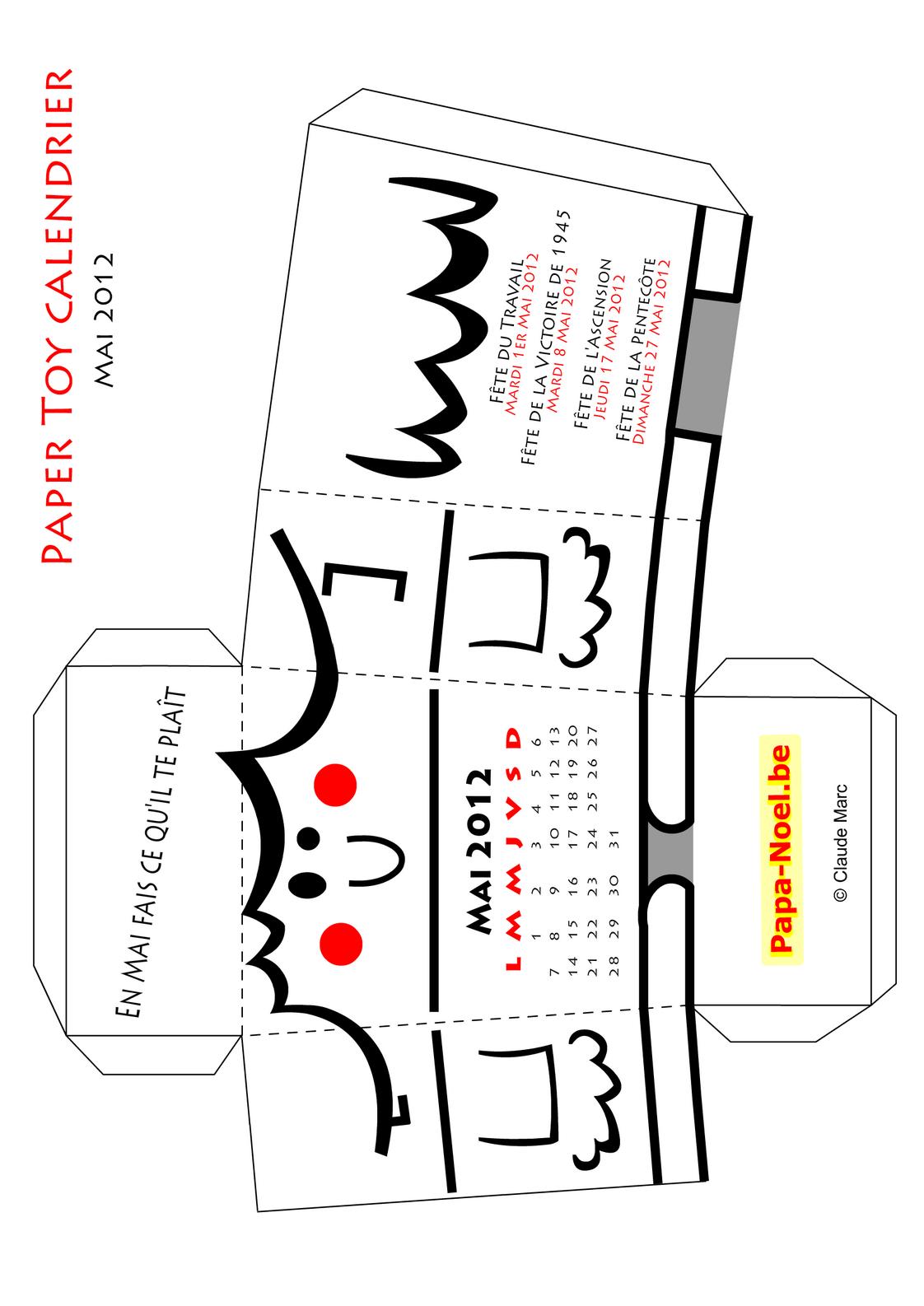 Paper Toy Calendrier Mai 2012 A Imprimer Gratuit Bricolage intérieur Paper Toy Gratuit
