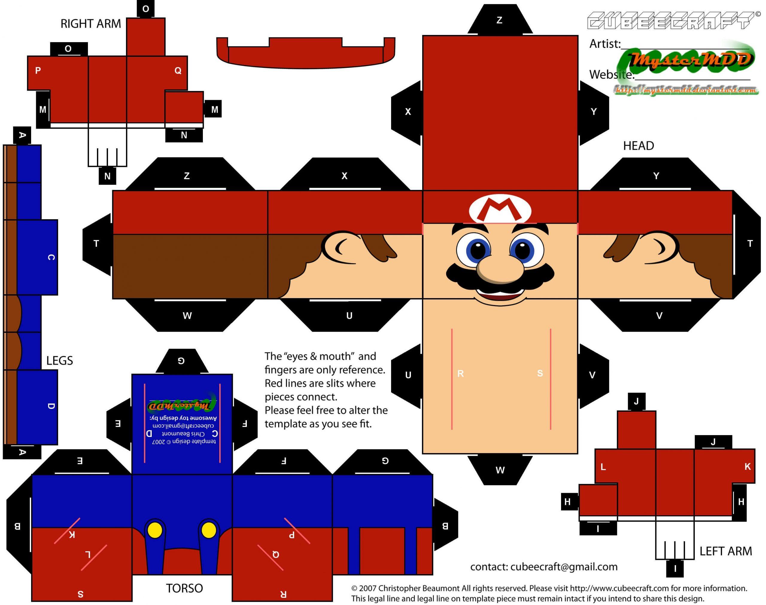 Paper Toys Mario - La Fée Biscotte dedans Paper Toy A Imprimer
