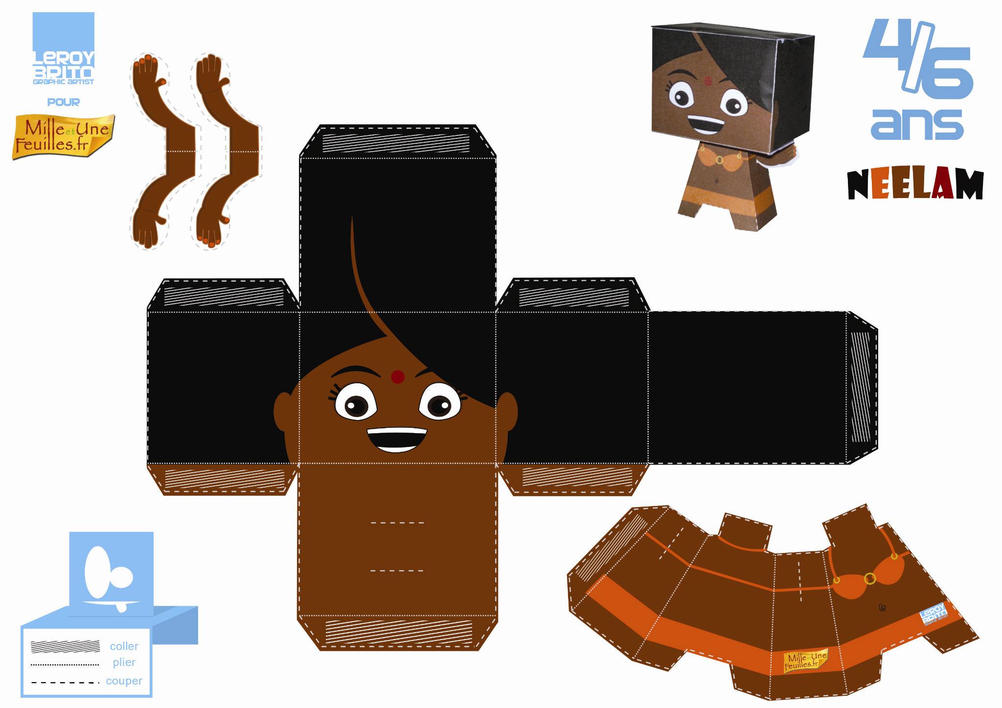 Paper Toys Neelam - Mille Et Une Feuilles à Découpage Collage A Imprimer