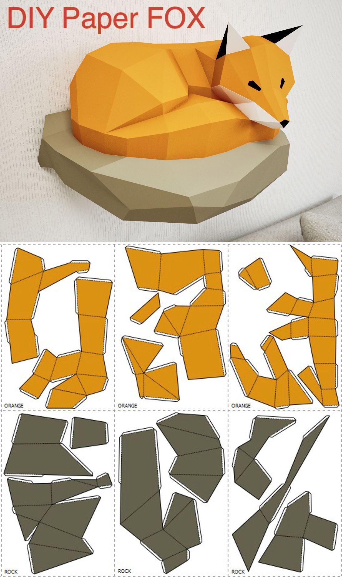 Papercraft Fox On Rock, Paper Model, 3D Paper Craft, Paper intérieur Paper Toy Gratuit