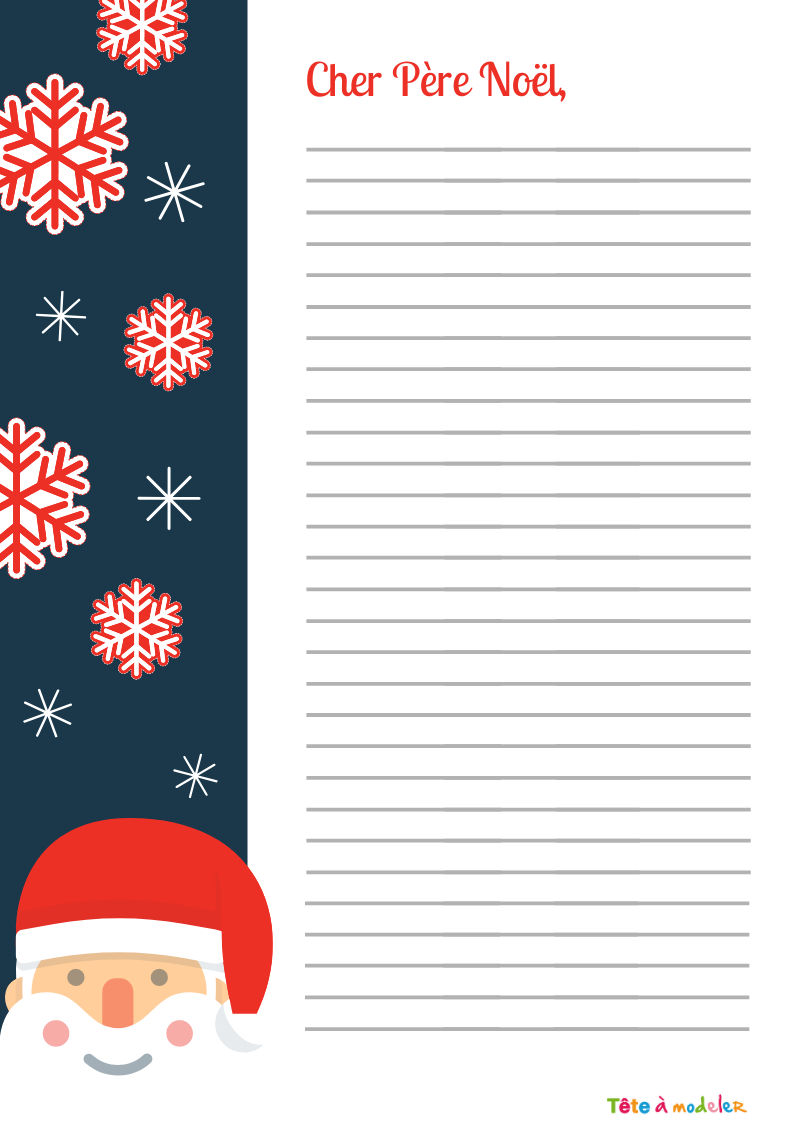 Papier À Lettre À Lignes Gratuit À Imprimer - Tête À Modeler concernant Papier Lettre De Noel