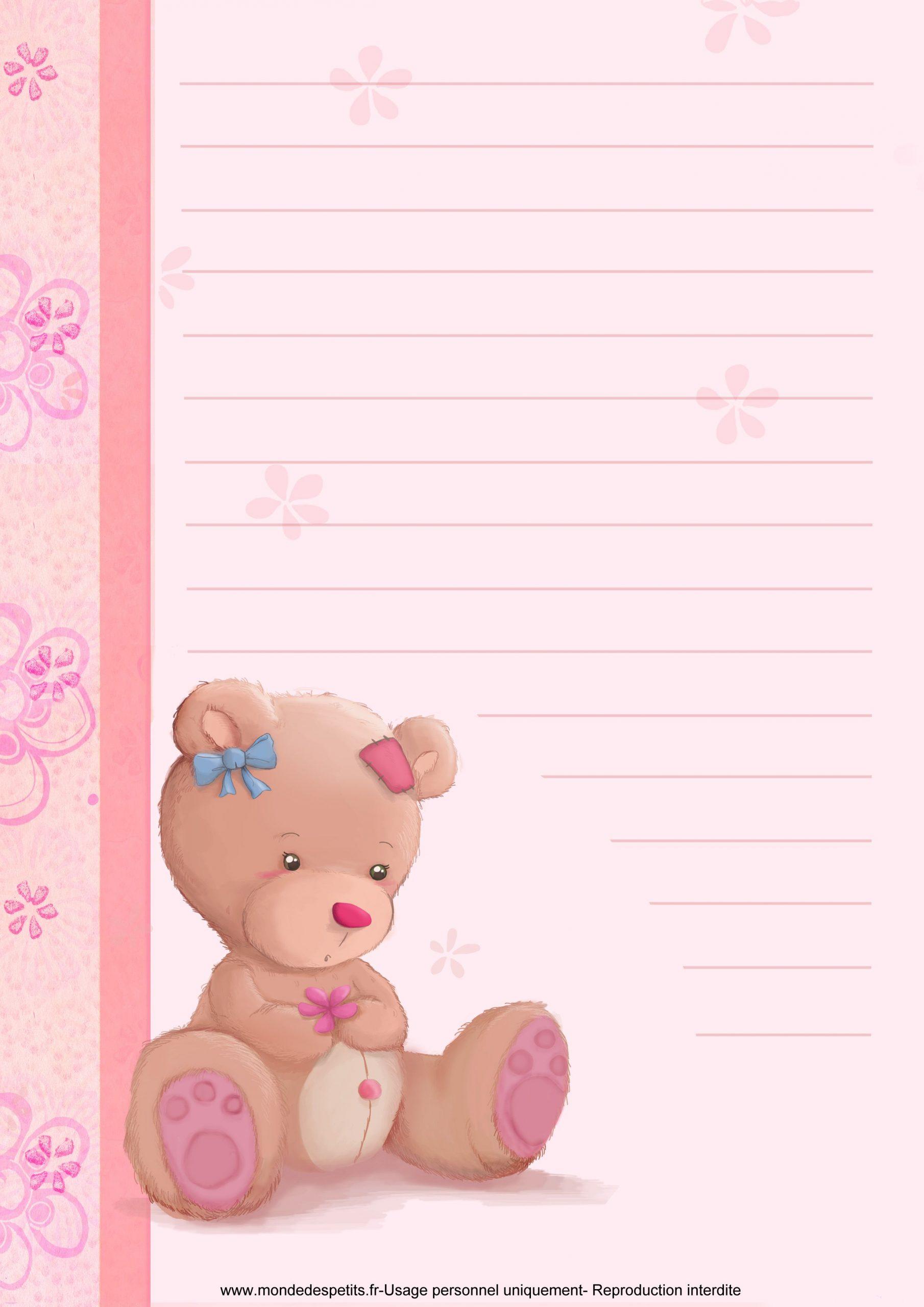 Papier À Lettre Nounours En 2020 | Papier À Lettre, Papier À concernant Papier A Lettre Enfant