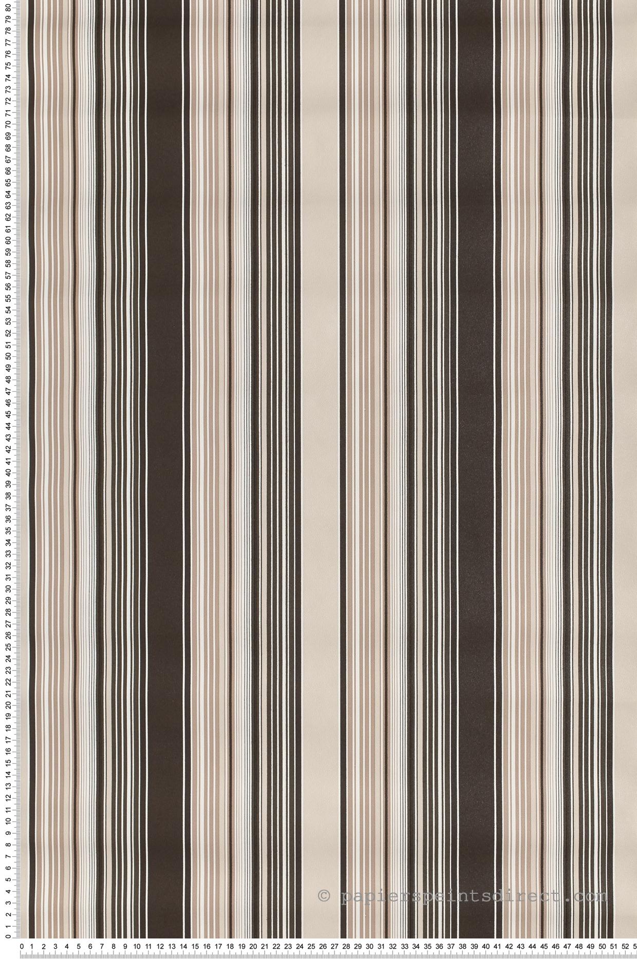 Papier Peint Rayures Fines Et Larges Noir-Taupe - Jeux De dedans Jeux De Taupe