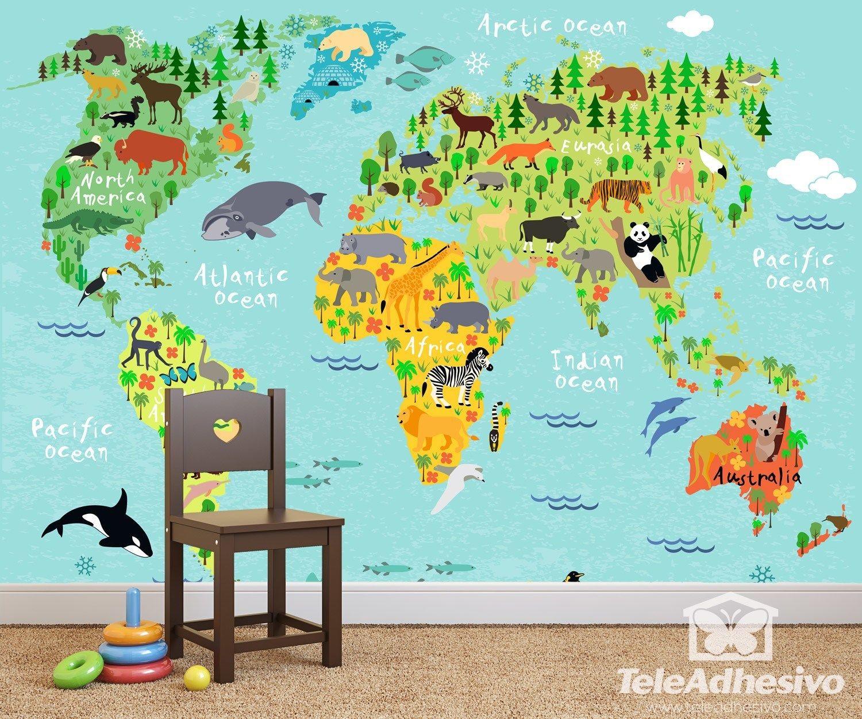 Papier Peint Vinyle: Carte Du Monde Pour Enfants 2 | Carte à Carte Du Monde Pour Enfant