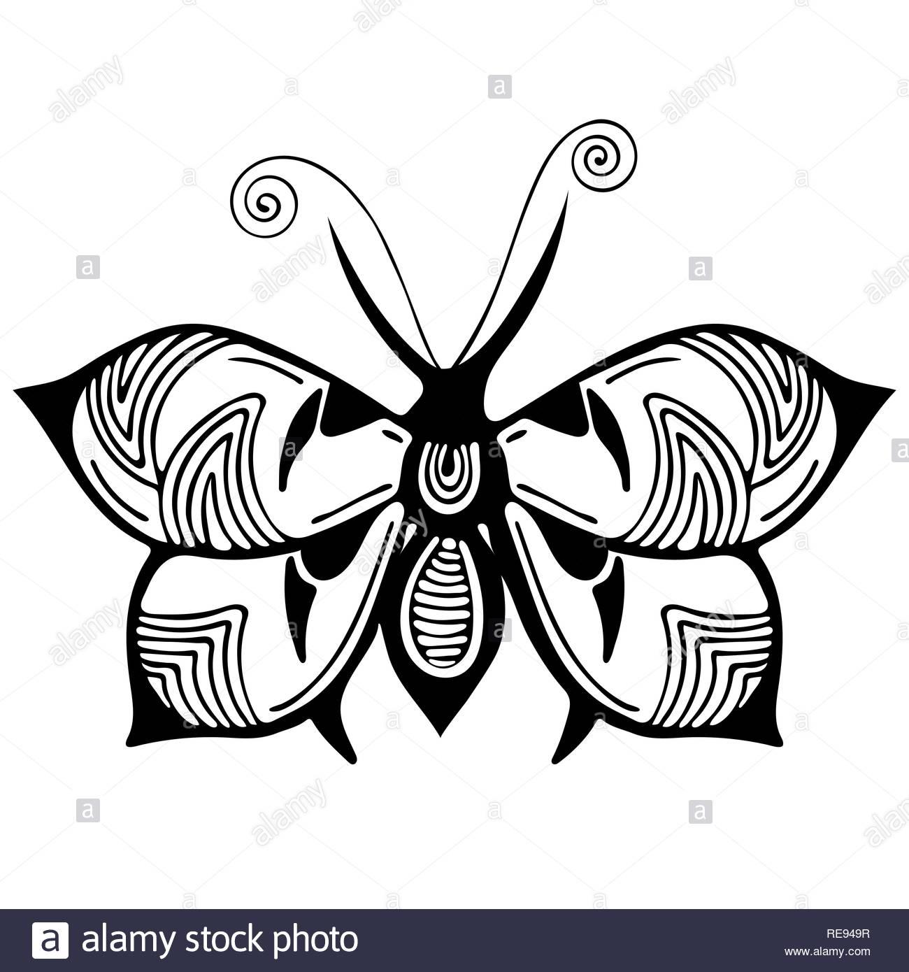 Papillon Abstrait, Dessin En Noir Et Blanc, Contour Ornement concernant Papillon À Dessiner