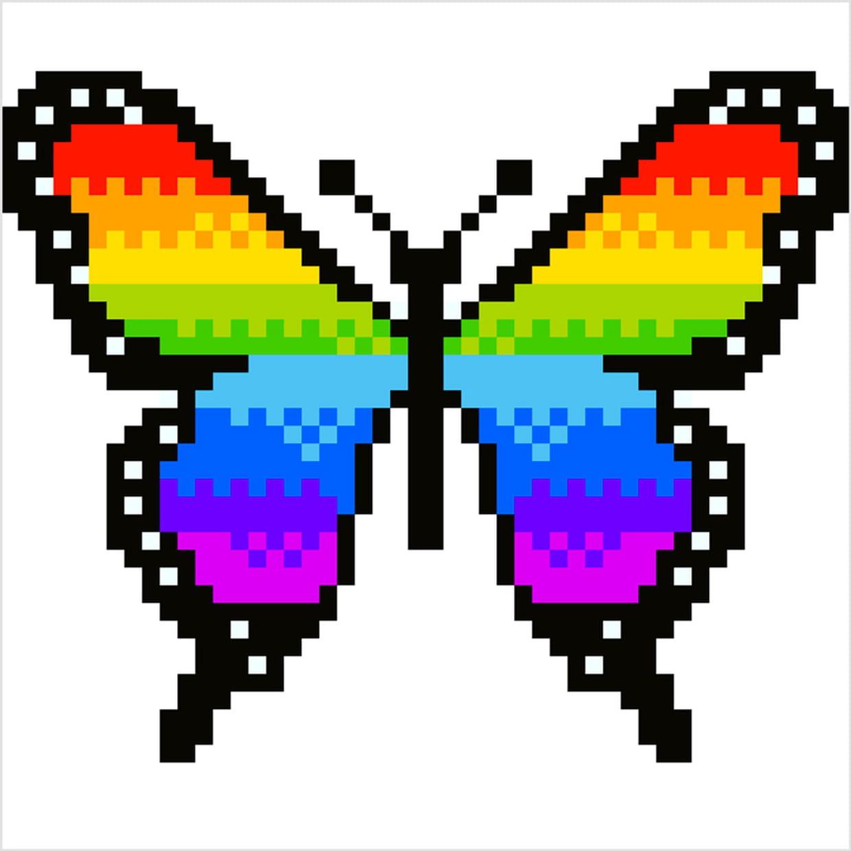 Papillon Arc-En-Ciel En Pixel Art tout Jeux Dessin Pixel