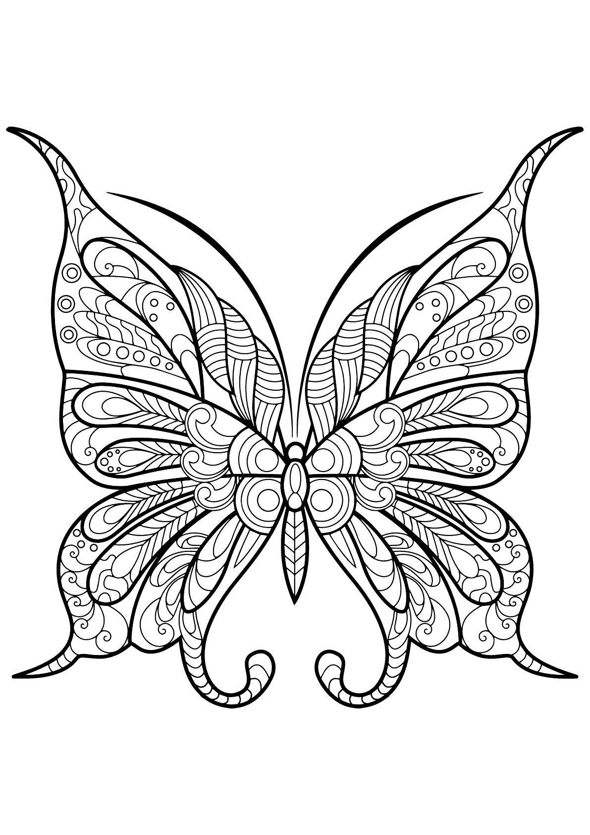 Papillon Jolis Motifs 9 - Papillons & Insectes - Coloriages concernant Dessin Papillon À Colorier