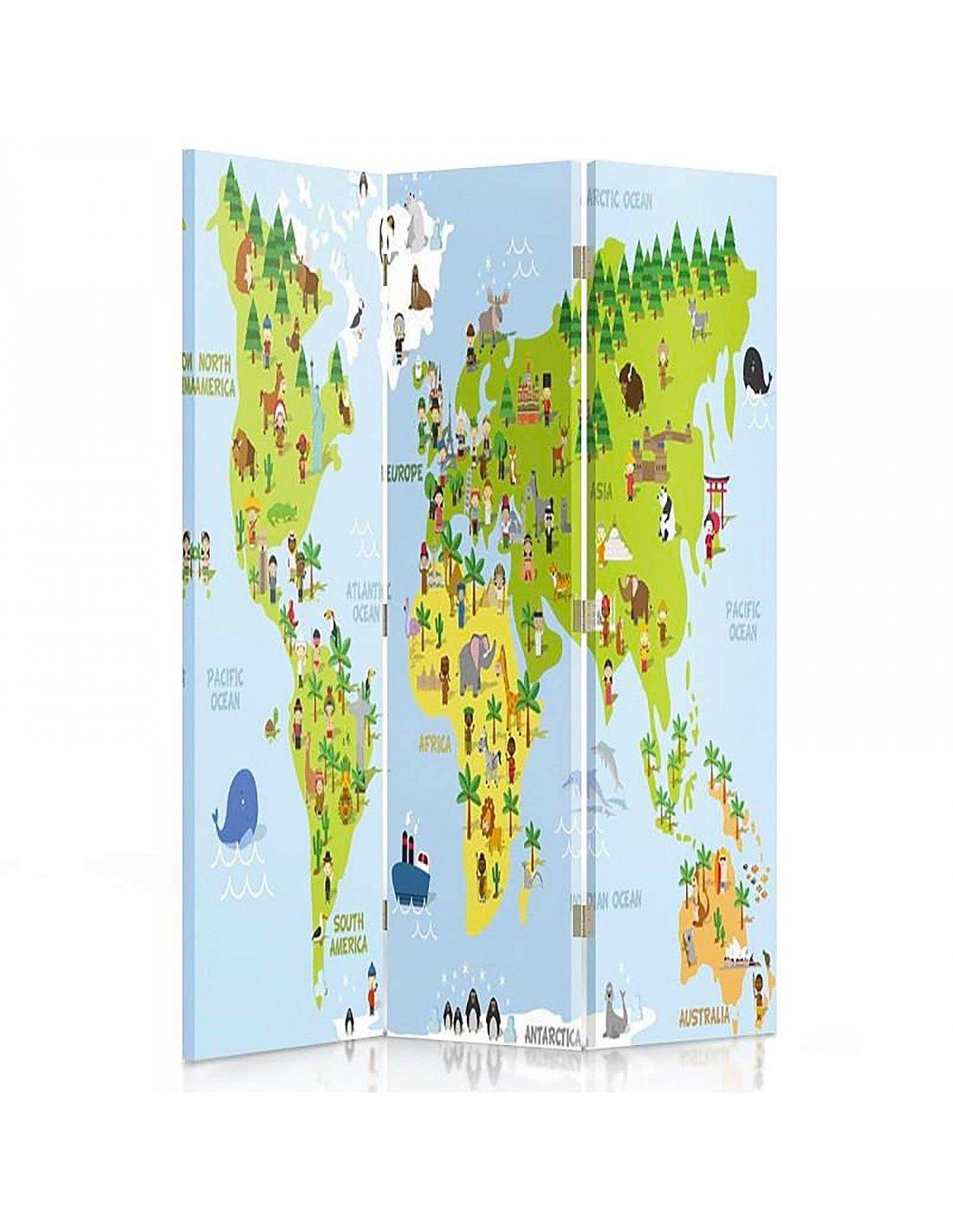 Paravent 3 Volets Carte Du Monde Pour Les Enfants | Feeby | destiné Carte Du Monde Pour Enfant
