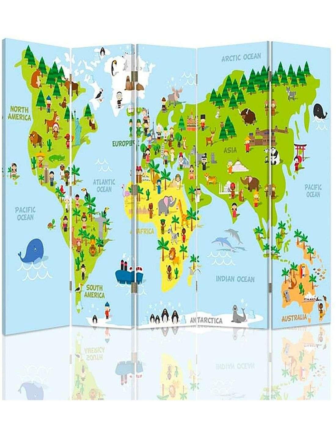 Paravent 5 Volets Carte Du Monde Pour Les Enfants 180 X 150 Cm - 1 Face Déco pour Carte Du Monde Enfant