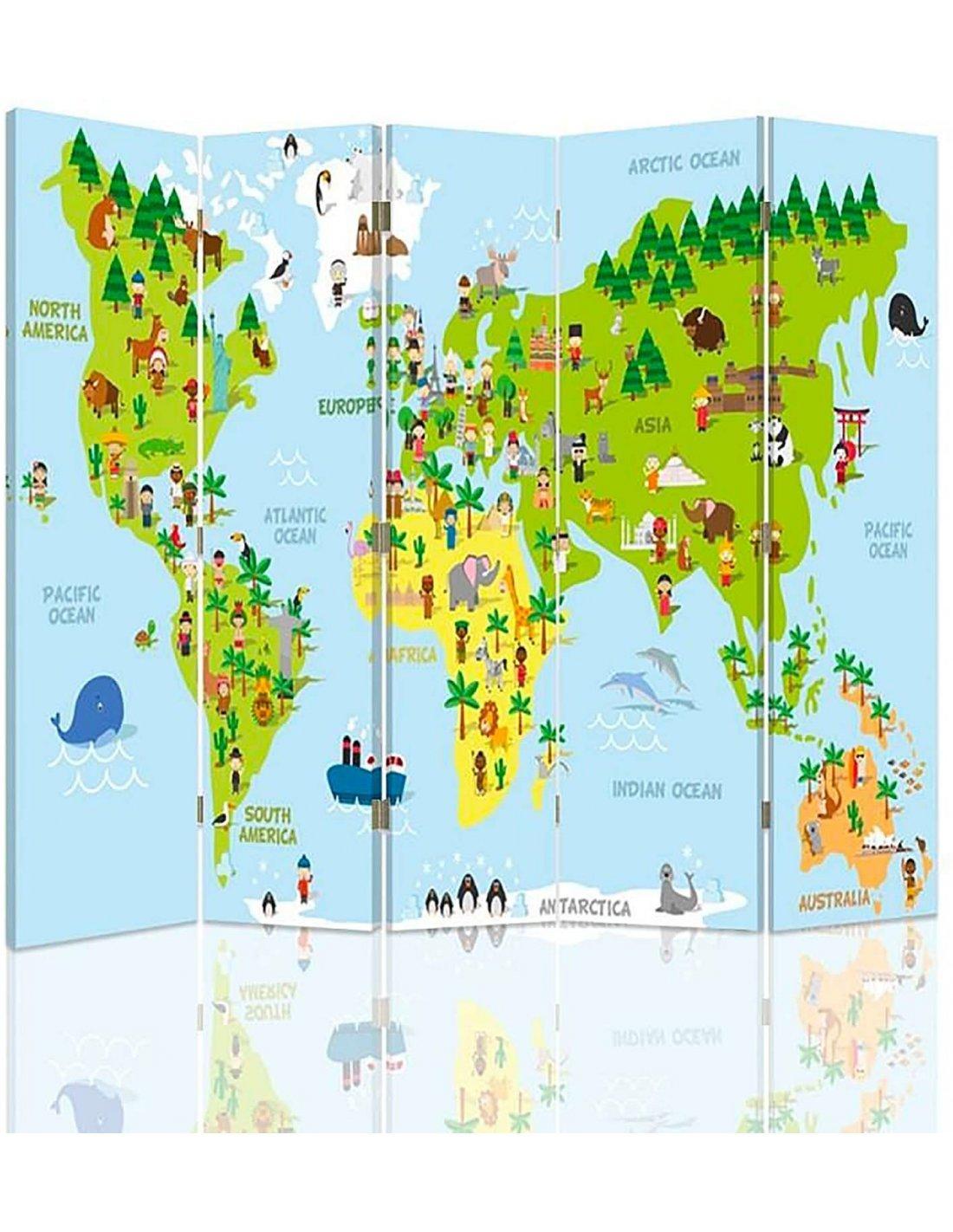 Paravent 5 Volets Carte Du Monde Pour Les Enfants | Feeby | concernant Carte Du Monde Pour Enfant